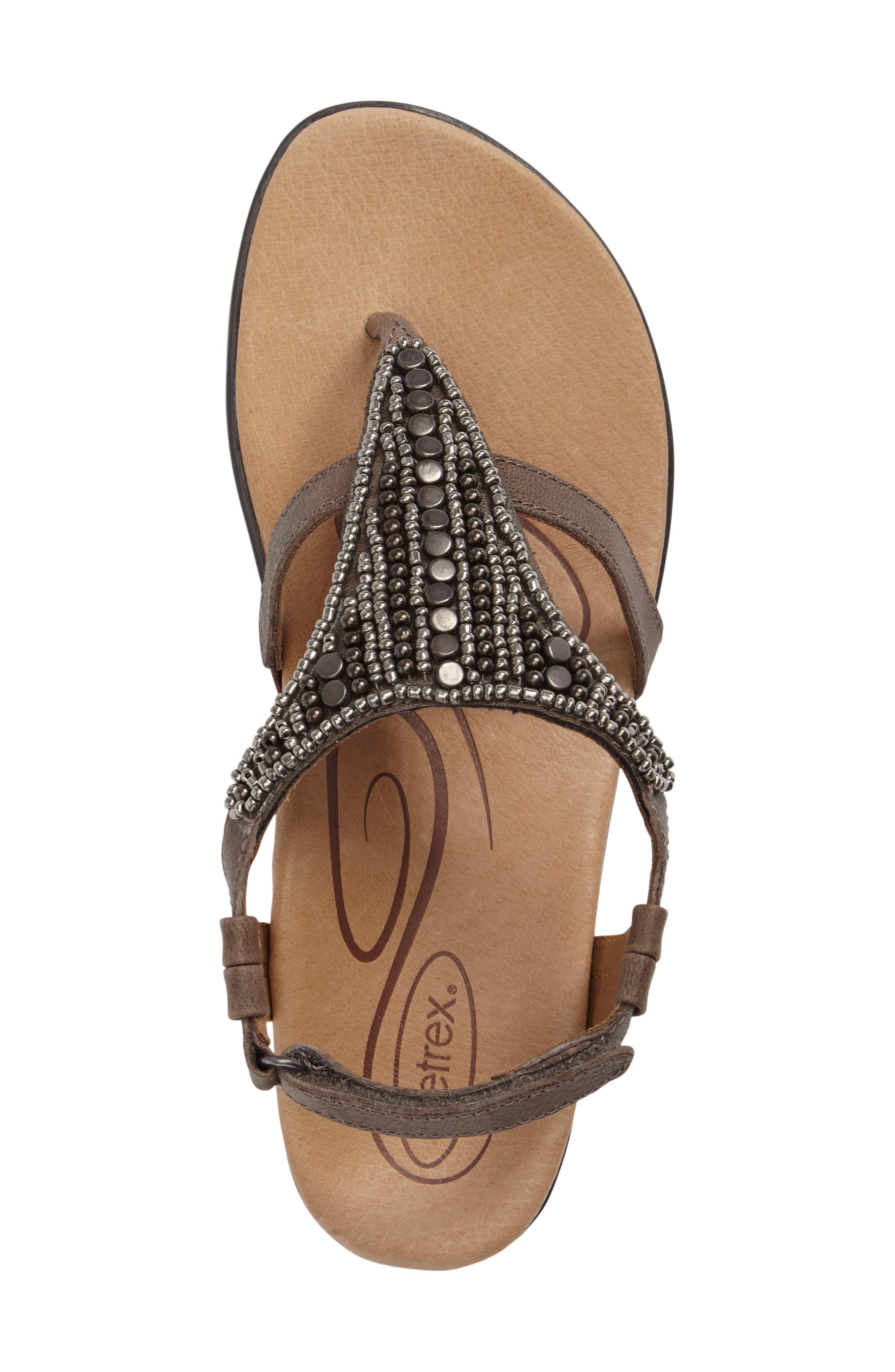 Sheila Embellished Sandal,                             Alternate thumbnail 5, color,                             Stone Leather