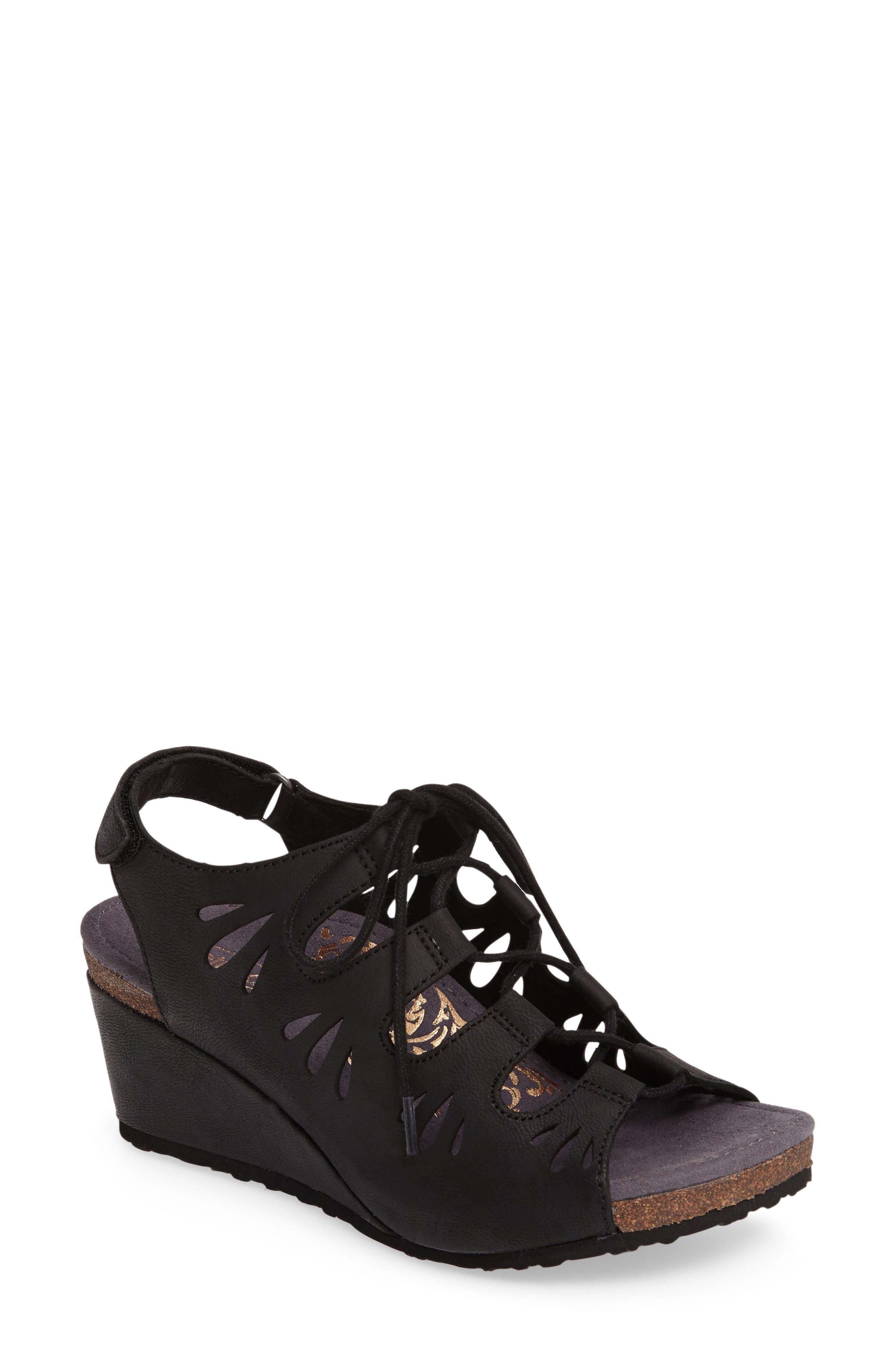 Giselle Slingback Wedge Sandal,                         Main,                         color, Black Leather