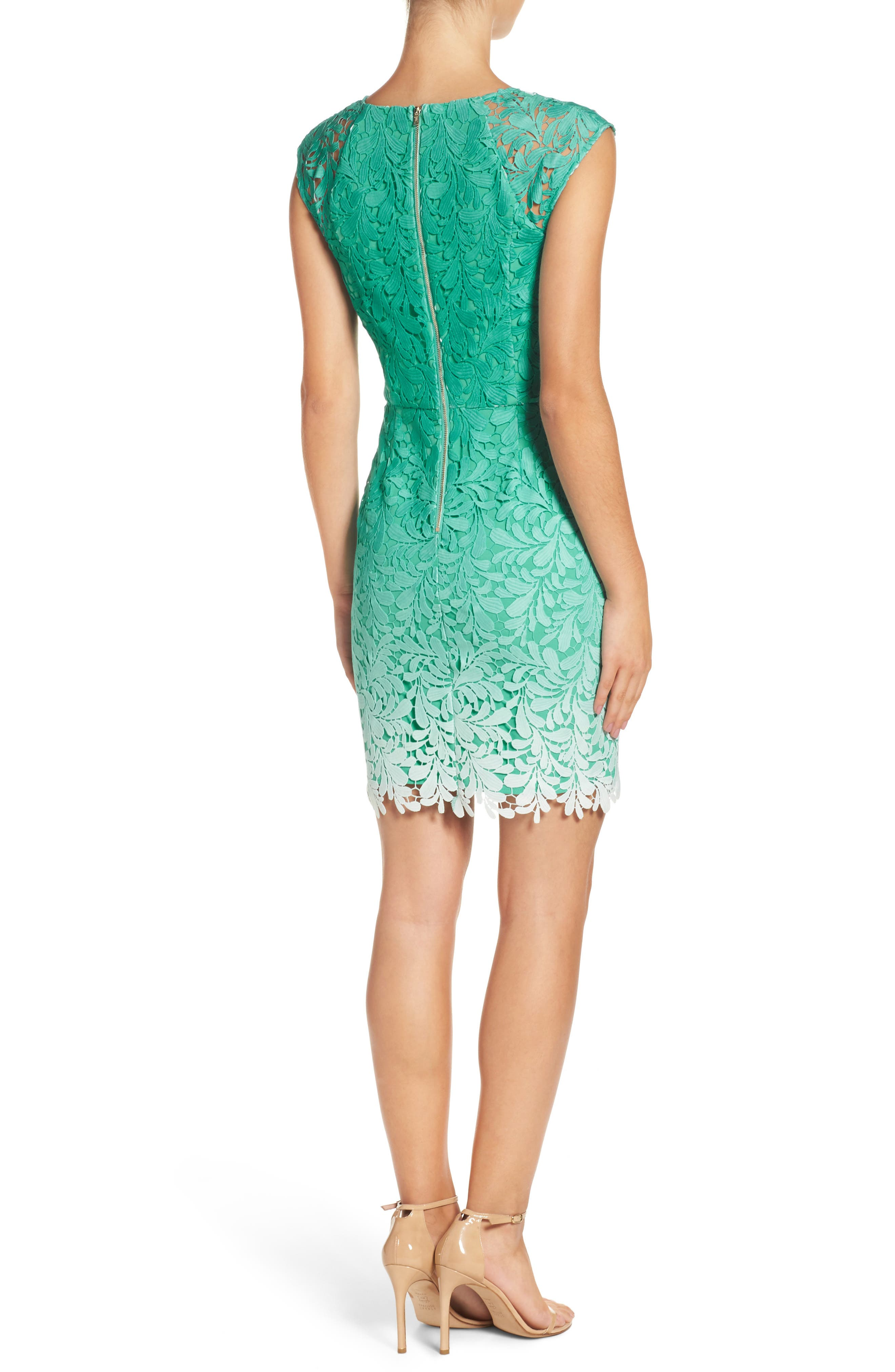 Ombré Lace Sheath Dress,                             Alternate thumbnail 2, color,                             Seafoam