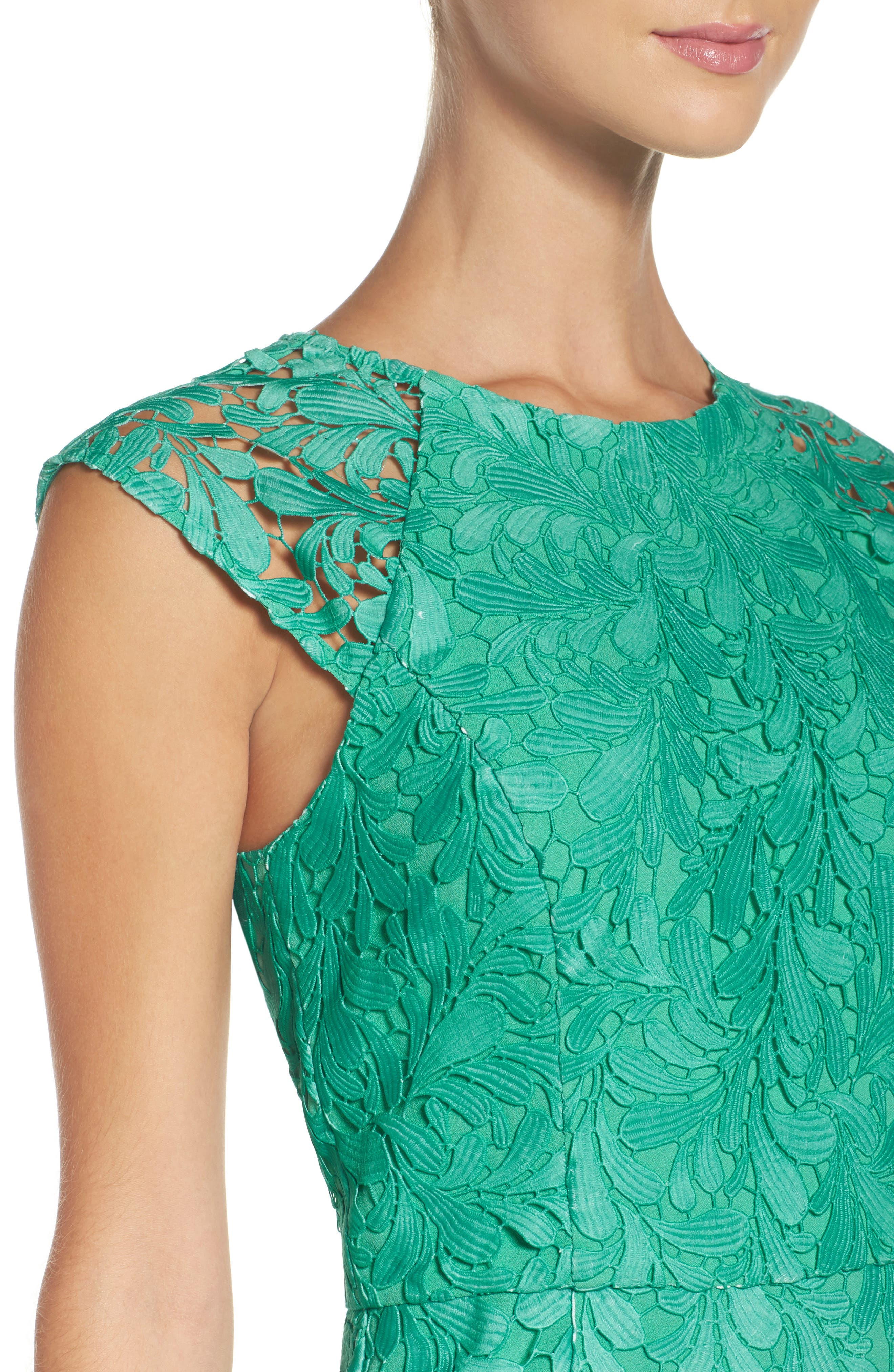 Ombré Lace Sheath Dress,                             Alternate thumbnail 5, color,                             Seafoam