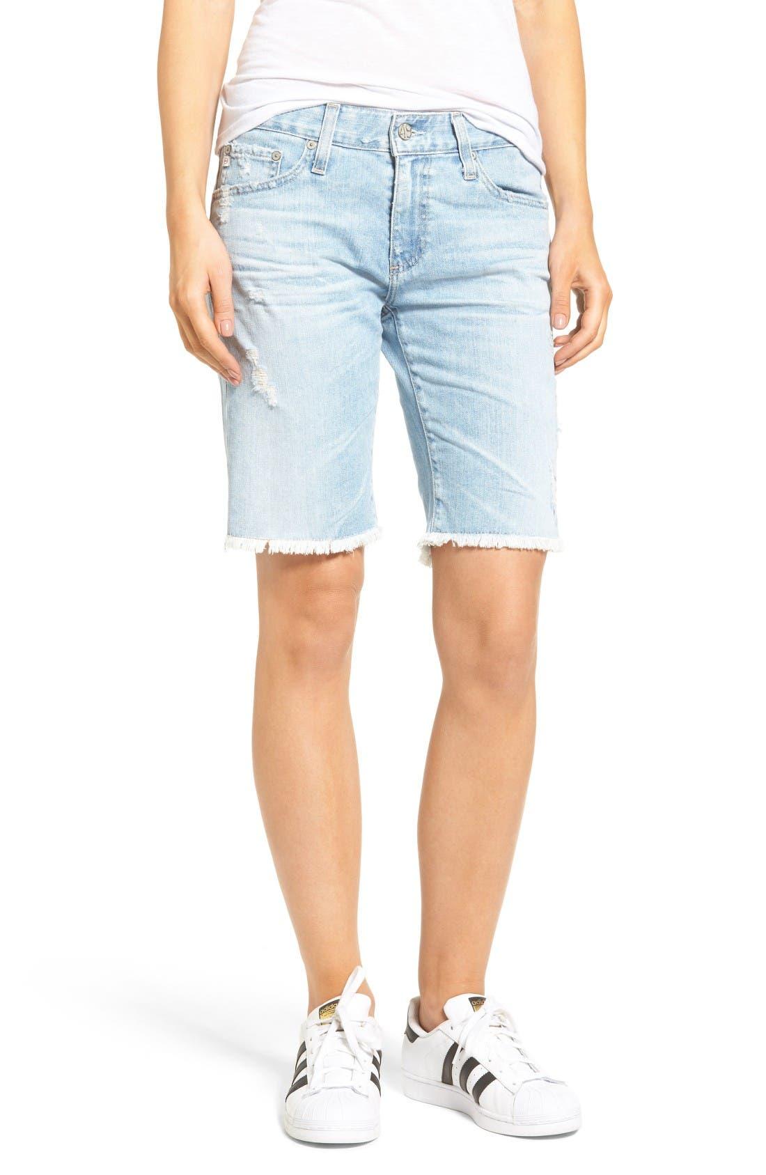 The Nikki Denim Bermuda Shorts,                         Main,                         color, 24 Year Relief