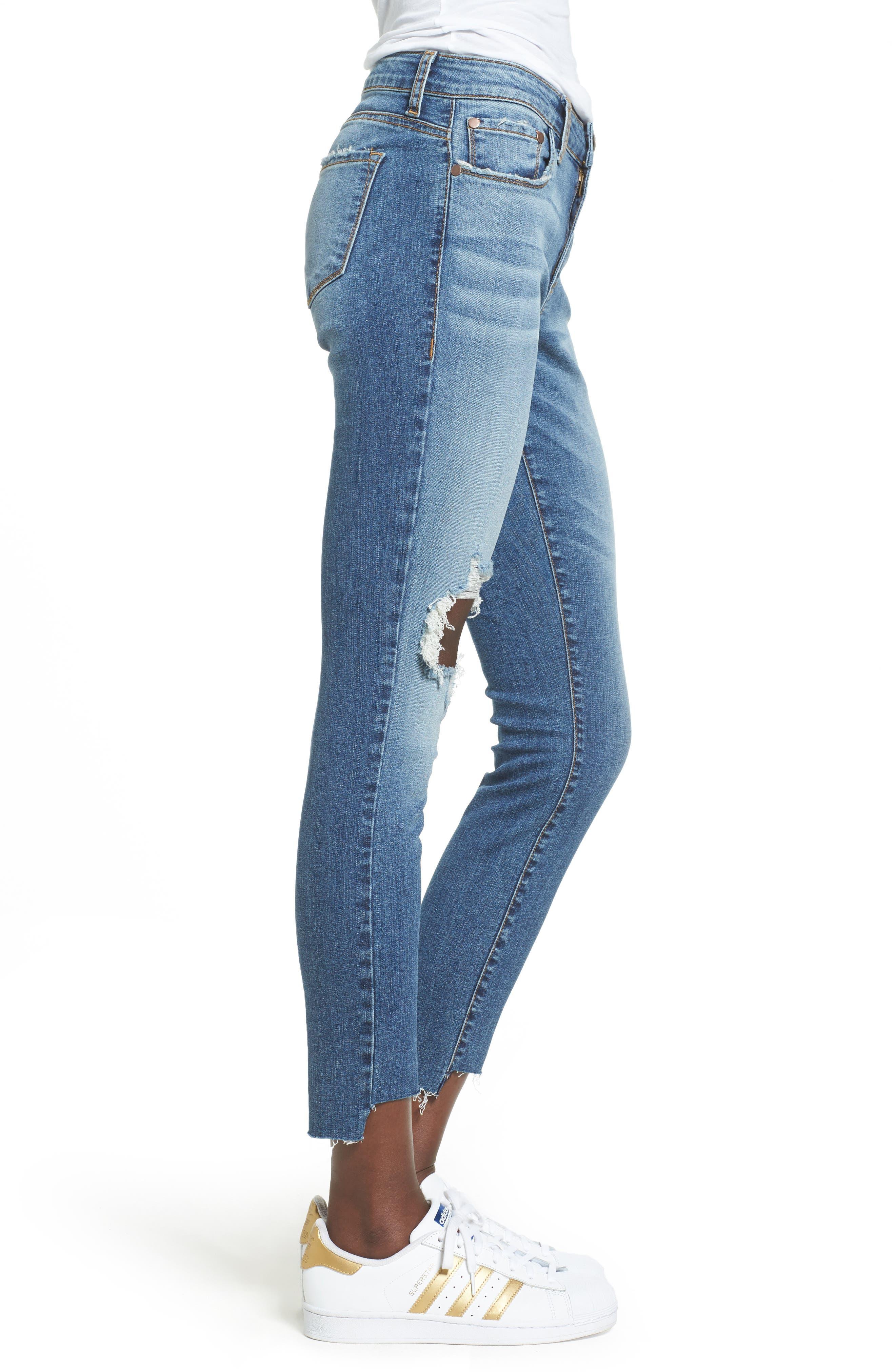Alternate Image 3  - BP. Ripped Step Hem Skinny Jeans (Destroy Rinse)