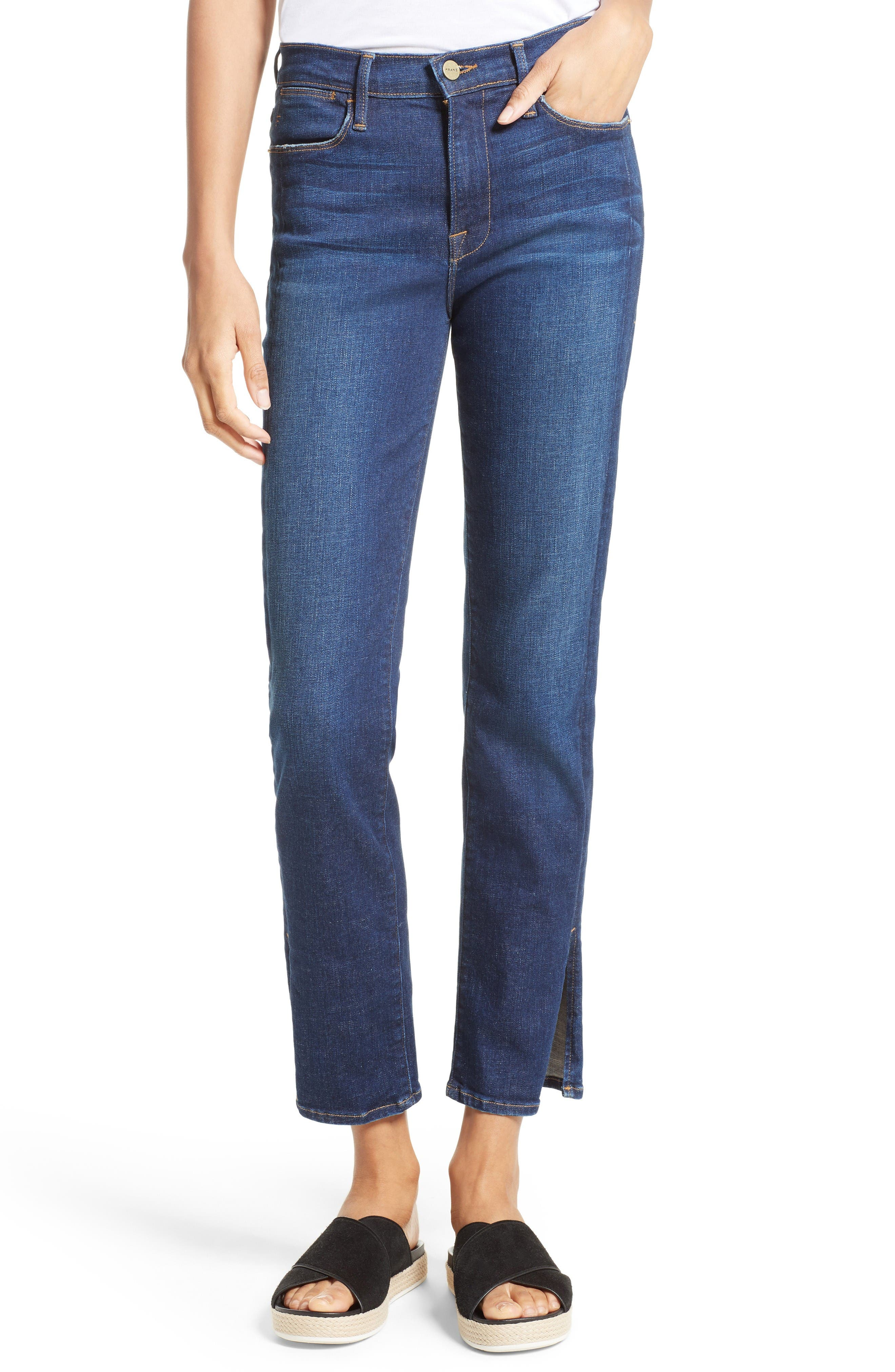 Le High Straight Leg Tuxedo Jeans,                             Main thumbnail 1, color,                             Helms