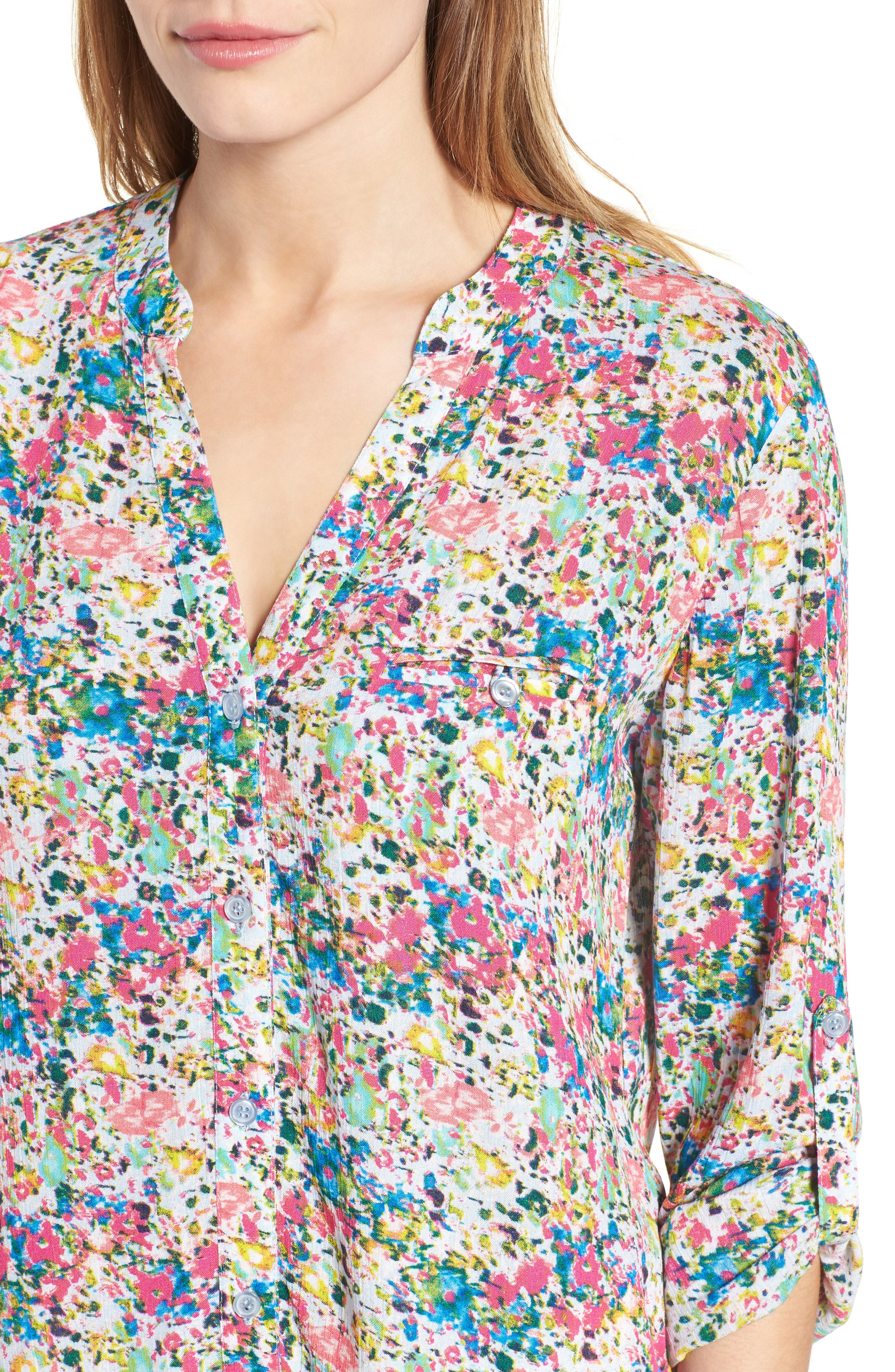 Alternate Image 4  - KUT from the Kloth 'Jasmine' Floral Print Roll Sleeve Blouse