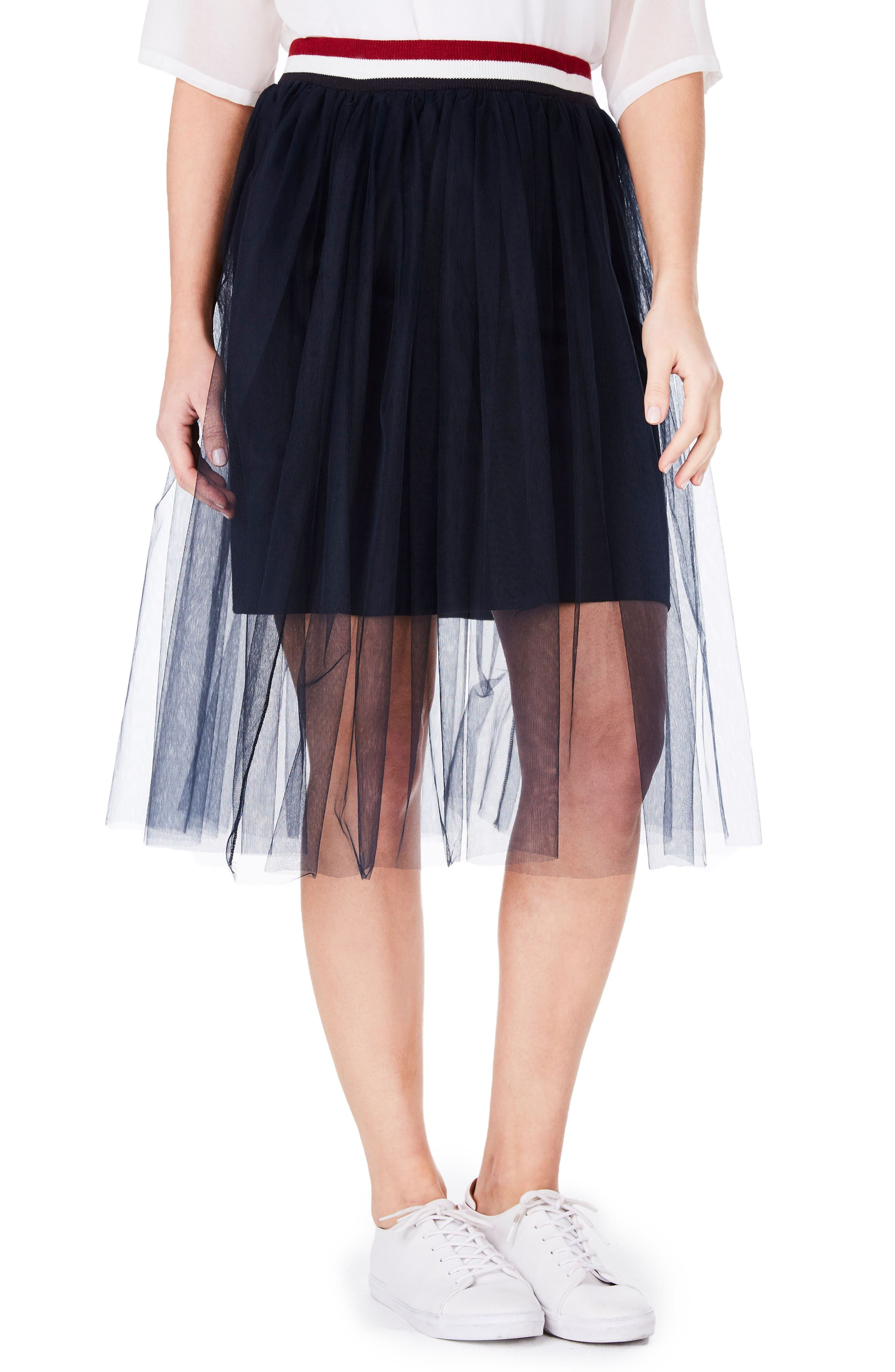 Tulle Skirt,                         Main,                         color, Navy