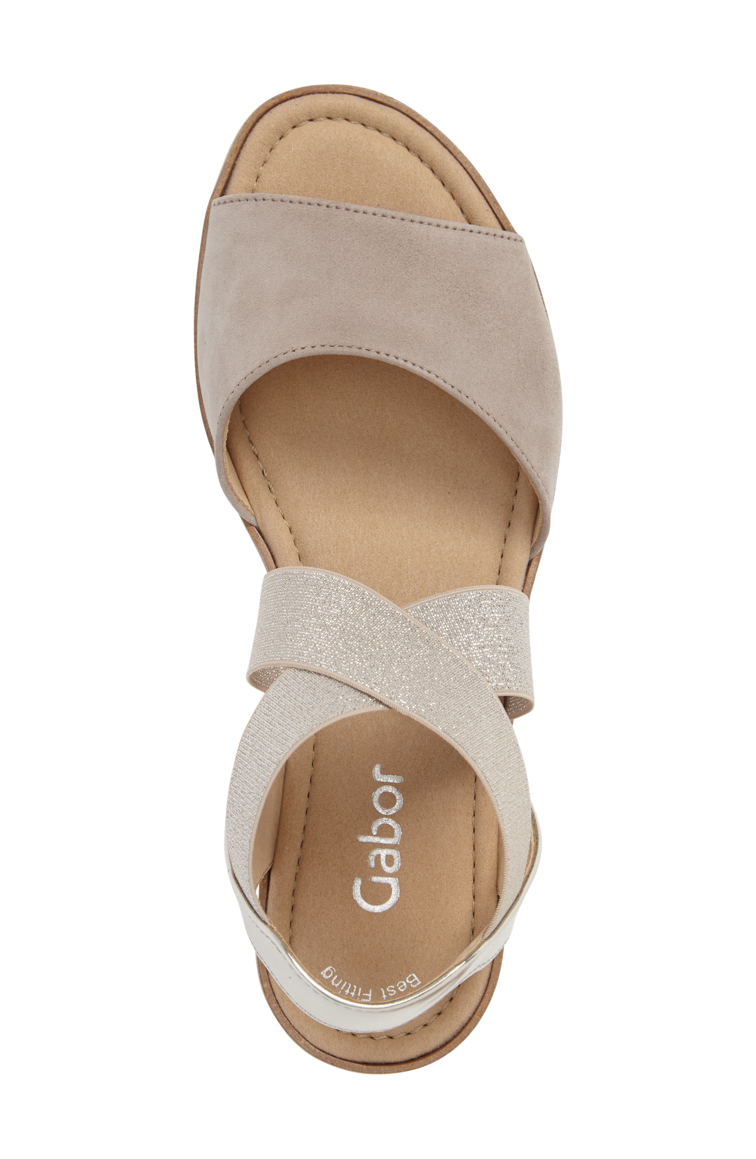 Strappy Sandal,                             Alternate thumbnail 5, color,                             Beige Leather