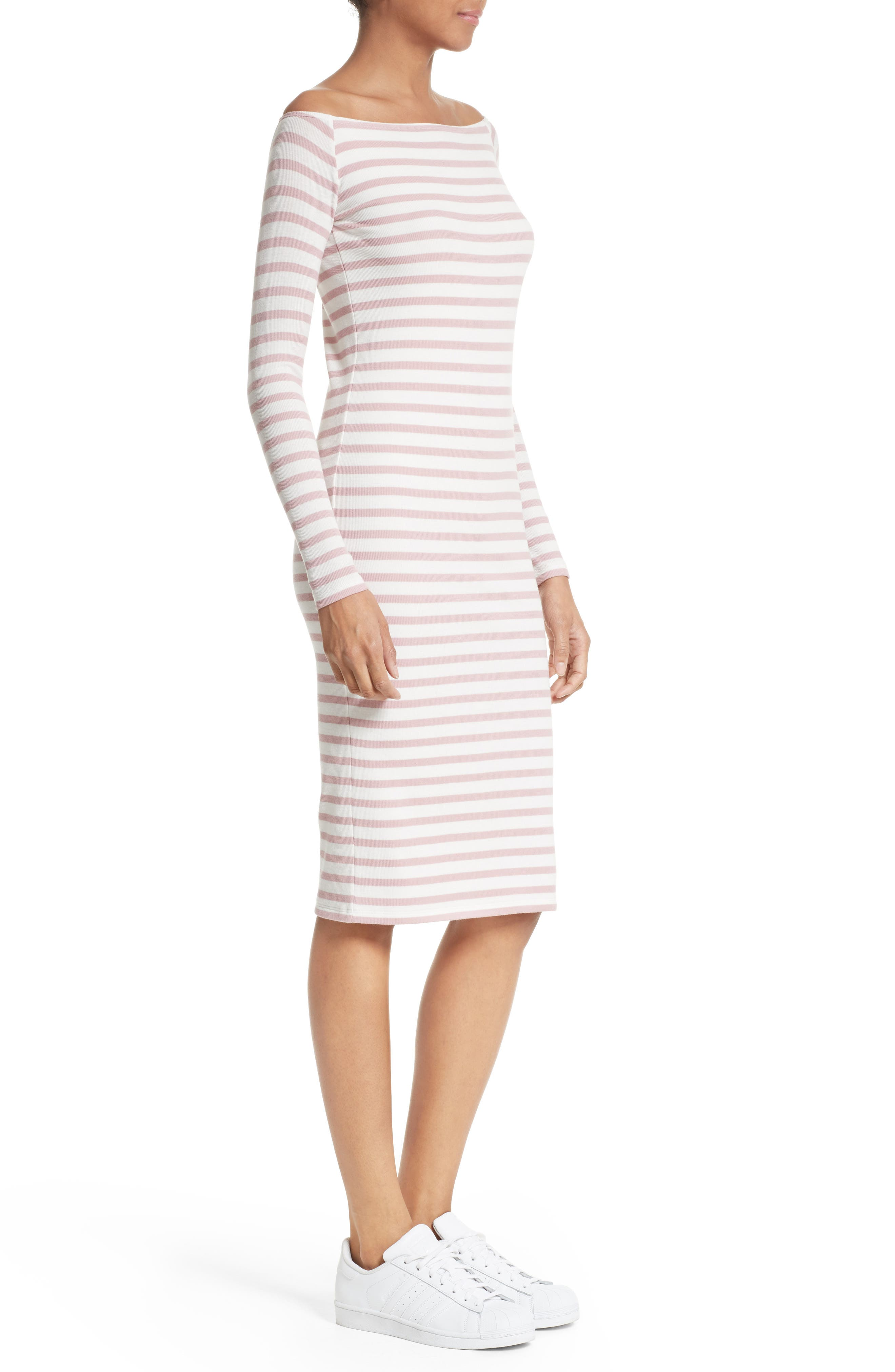 Off the Shoulder Rib Dress,                             Alternate thumbnail 4, color,                             Nutmeg/ Chalk Stripe