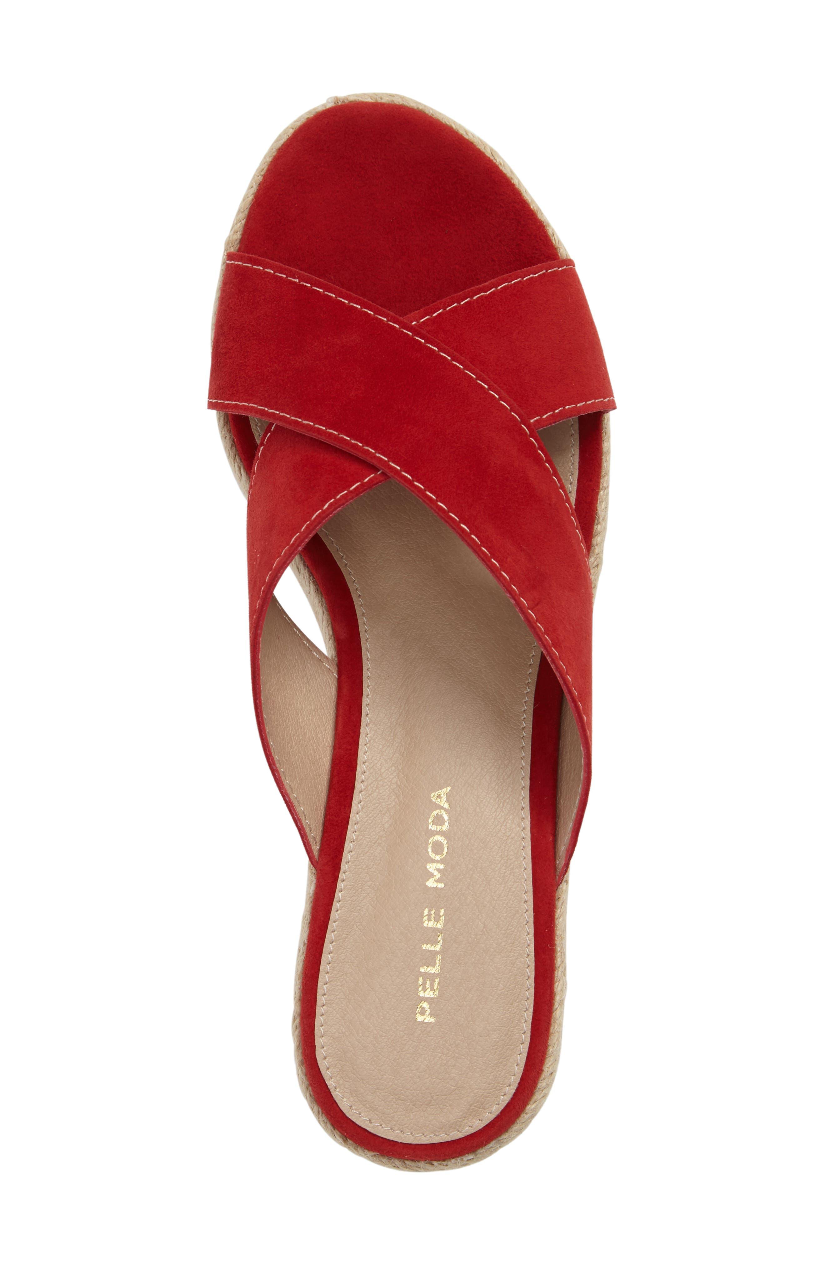 Harriet Platform Wedge Sandal,                             Alternate thumbnail 5, color,                             Lipstick Leather