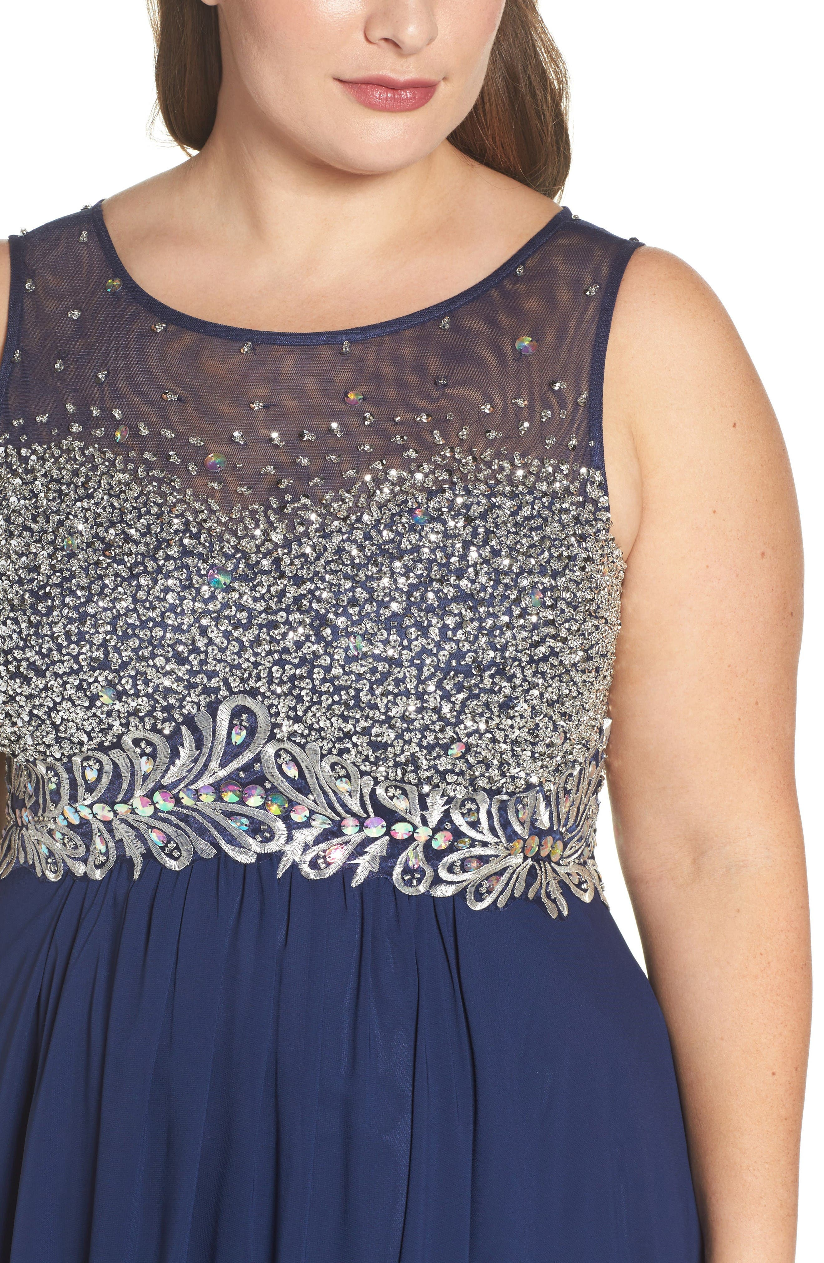 Beaded Illusion Bodice A-Line Gown,                             Alternate thumbnail 4, color,                             Navy