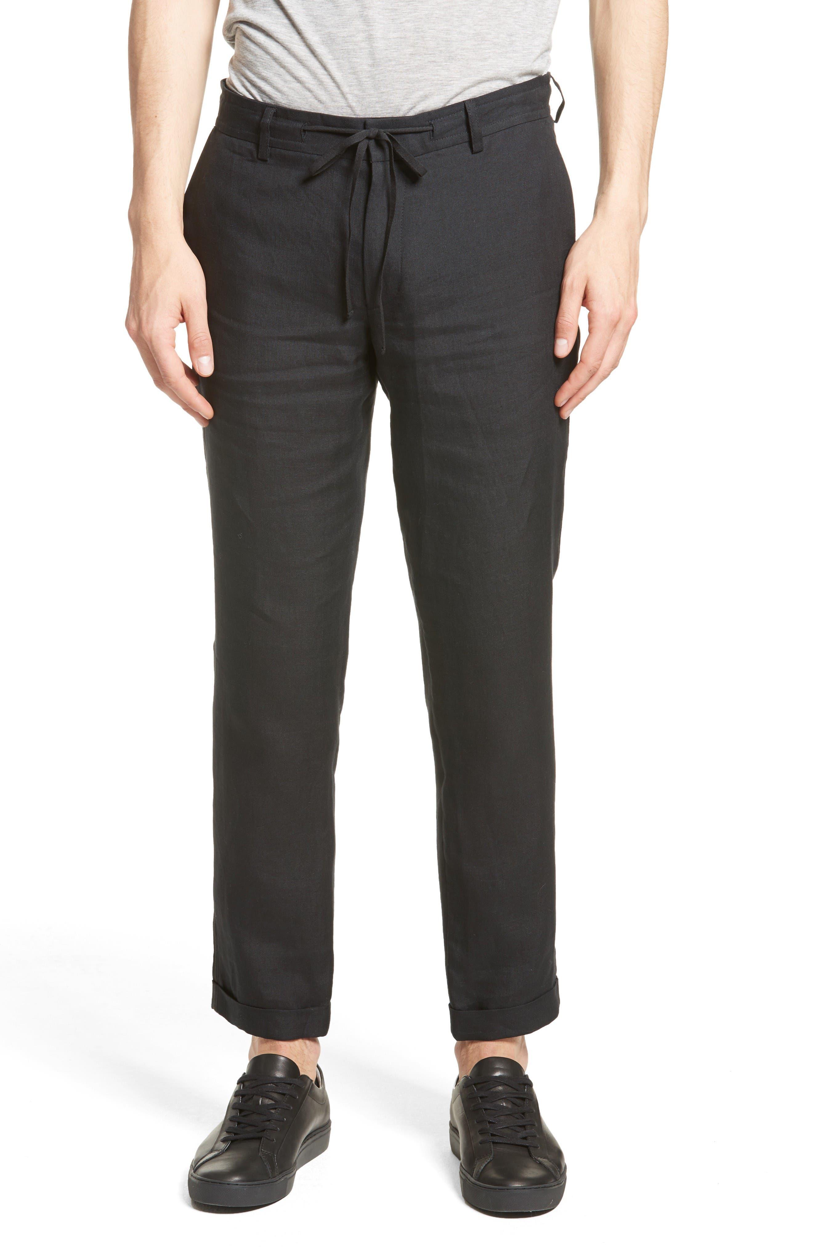 Relaxed Fit Linen Pants,                         Main,                         color, Black