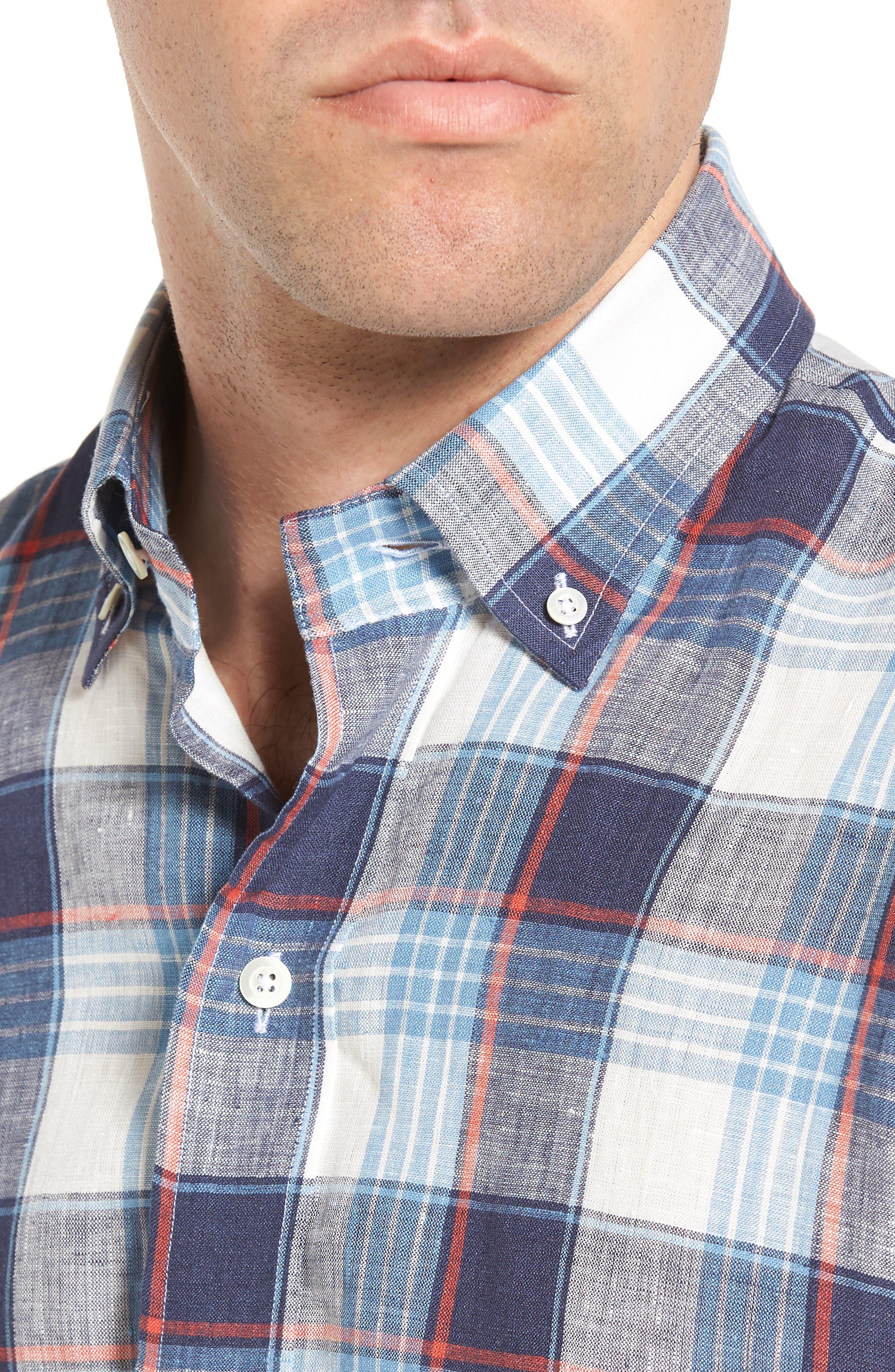 Trim Fit Plaid Linen Sport Shirt,                             Alternate thumbnail 4, color,                             Cadet Blue