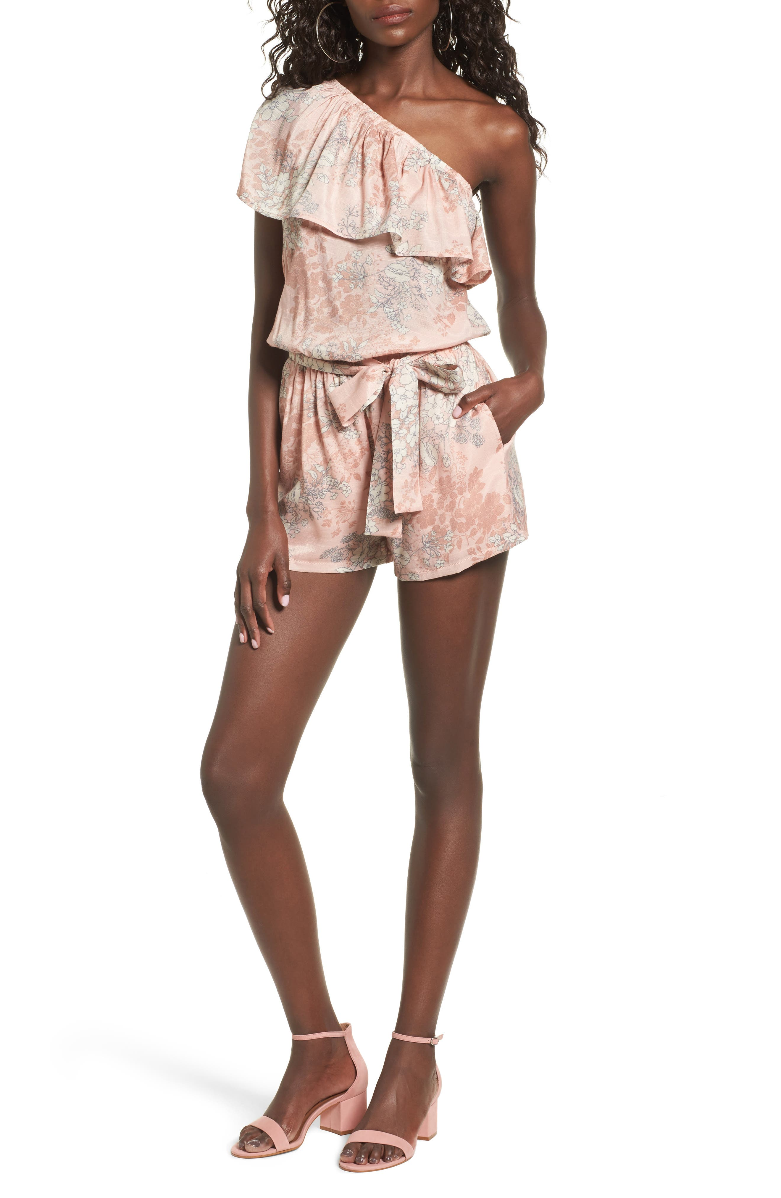 Alternate Image 1 Selected - Mimi Chica Ruffle One-Shoulder Romper
