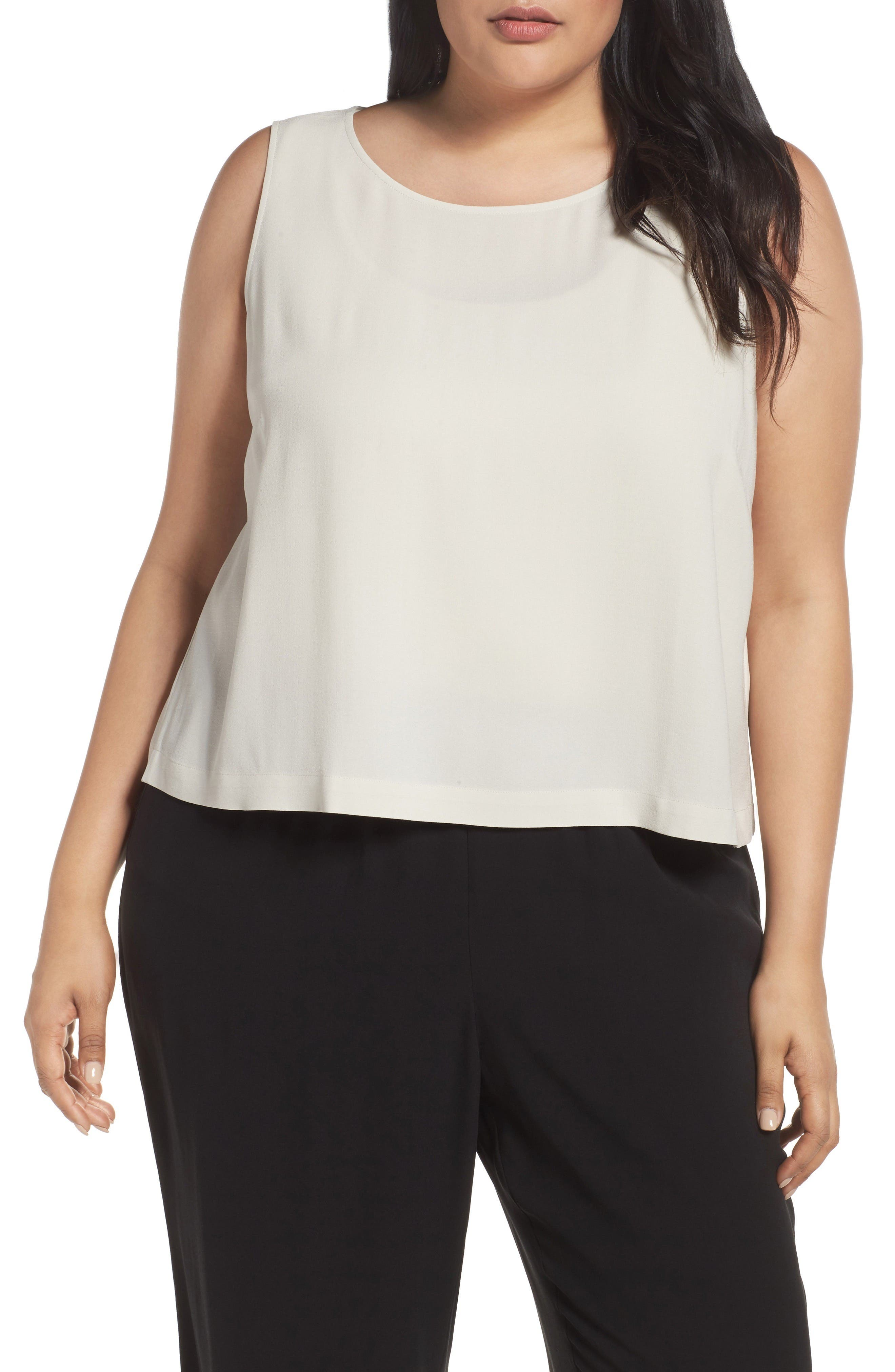 Alternate Image 1 Selected - Eileen Fisher Silk Georgette Crepe Shell (Plus Size)