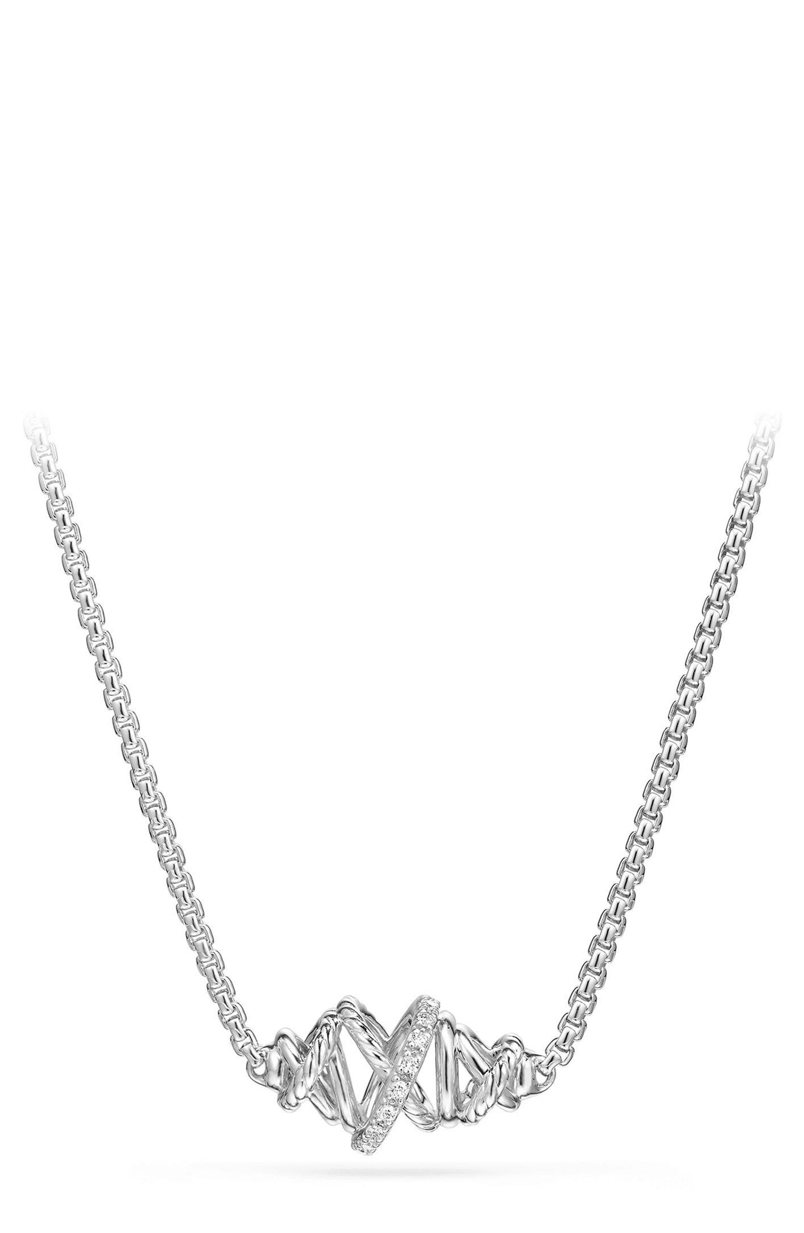 Alternate Image 1 Selected - David Yurman Crossover Single Station Necklace with Diamonds