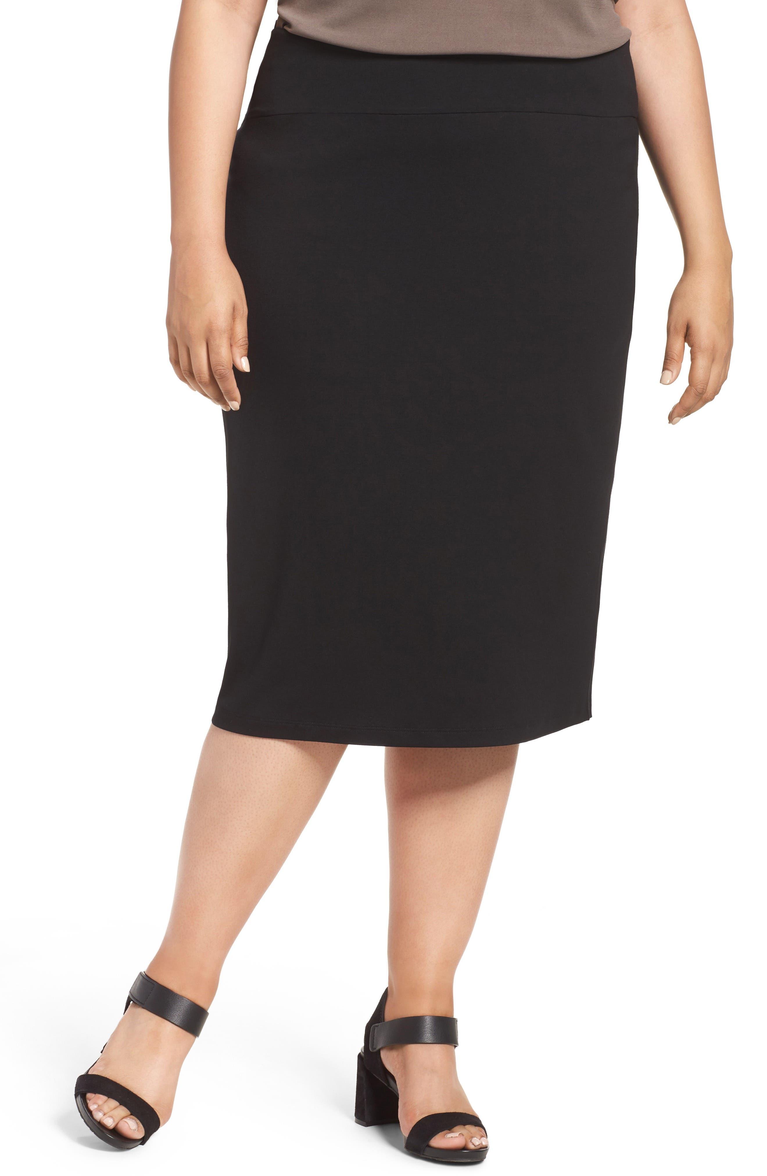 Eileen Fisher Foldover Waist Pencil Skirt (Plus Size)