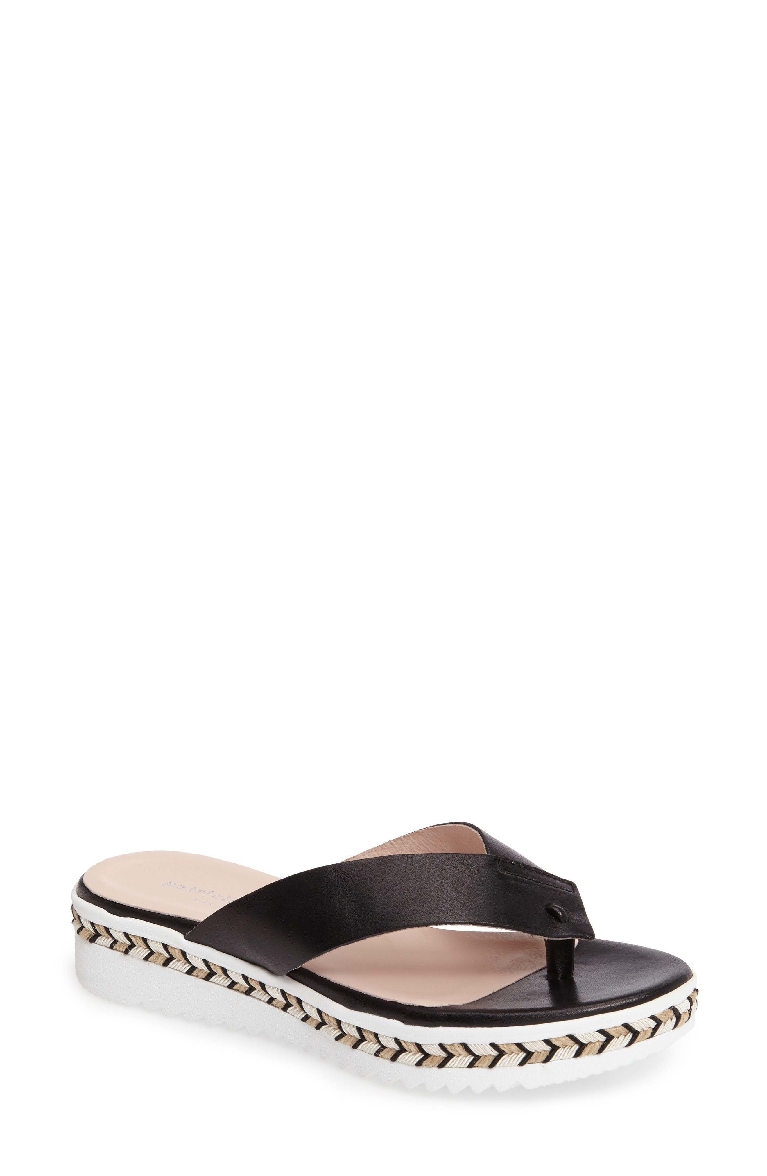Brooklyn Wedge Flip Flop,                             Main thumbnail 1, color,                             Black Leather