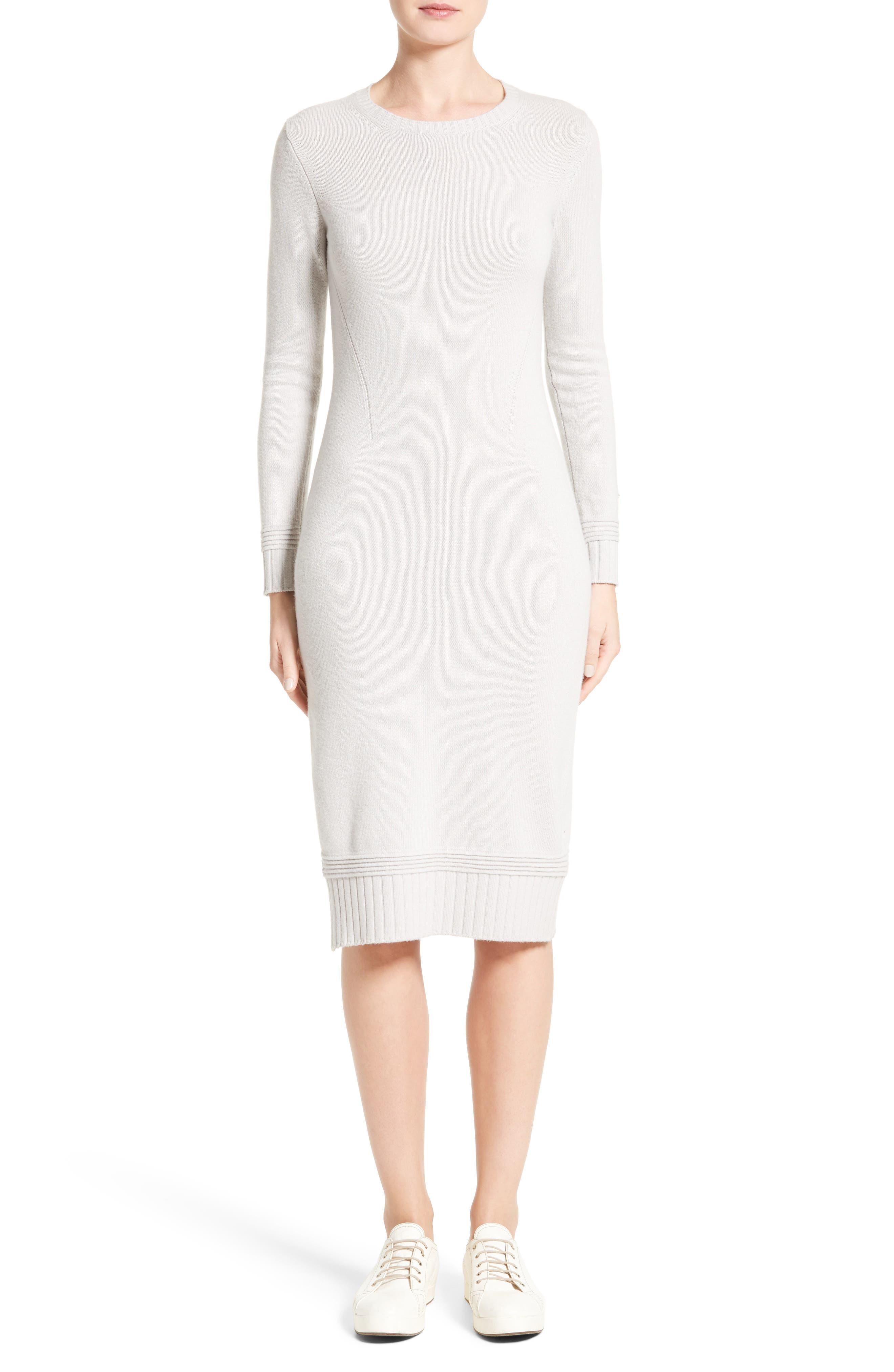 Armani Jeans Knit Sweater Dress,                             Main thumbnail 1, color,                             Light Grey