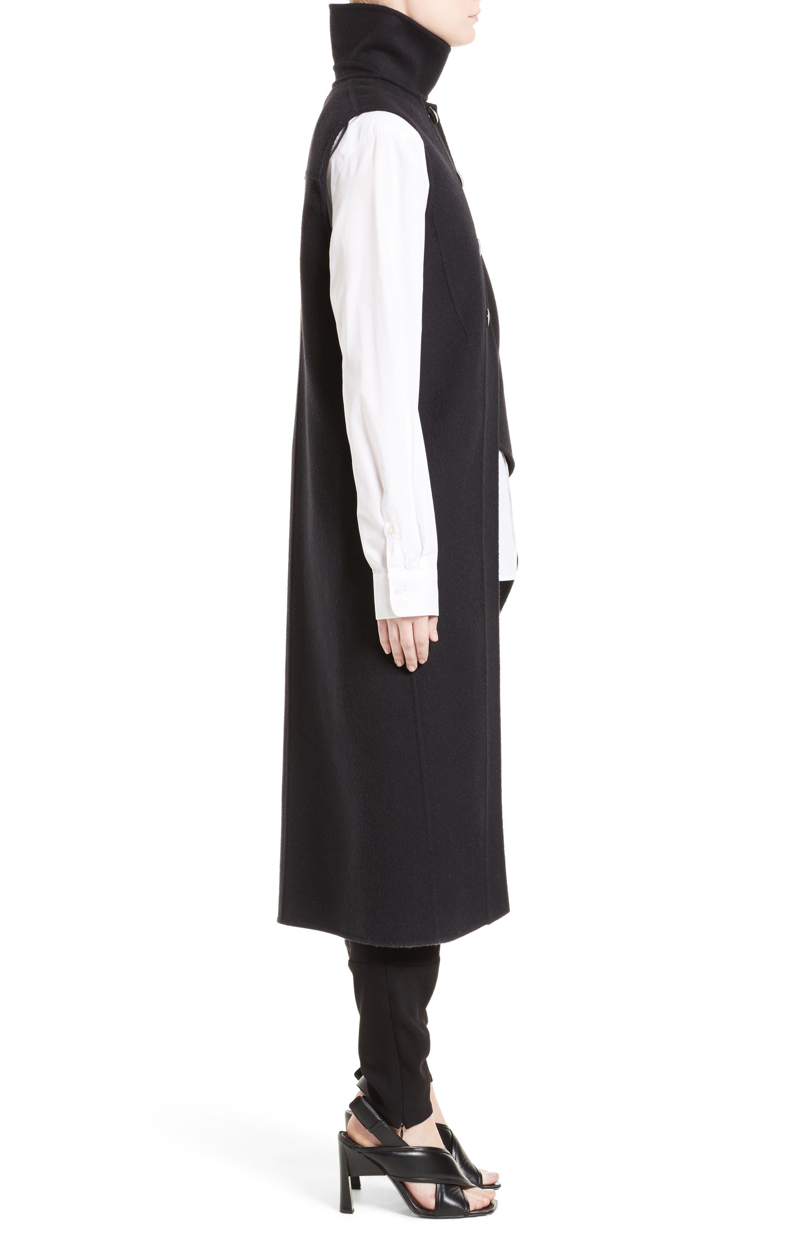 Wool, Alpaca & Cashmere Asymmetrical Vest,                             Alternate thumbnail 4, color,                             Black