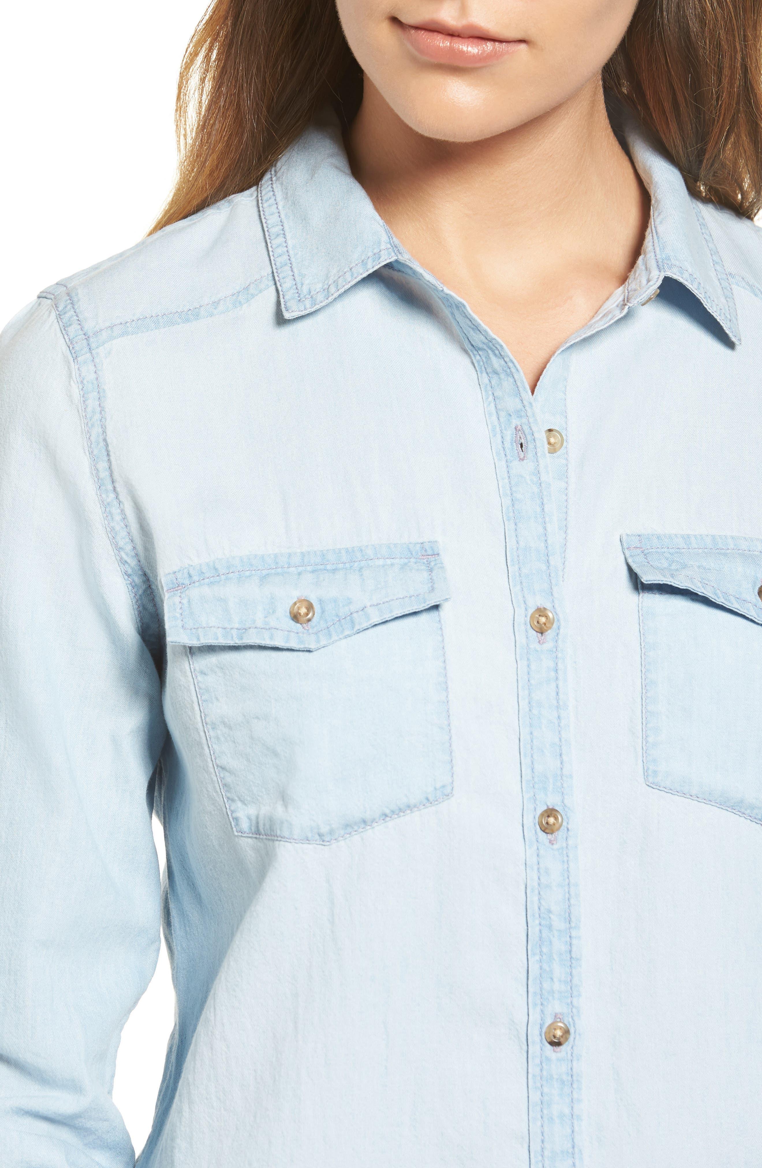 Chambray Shirt,                             Alternate thumbnail 4, color,                             Light Medium Wash