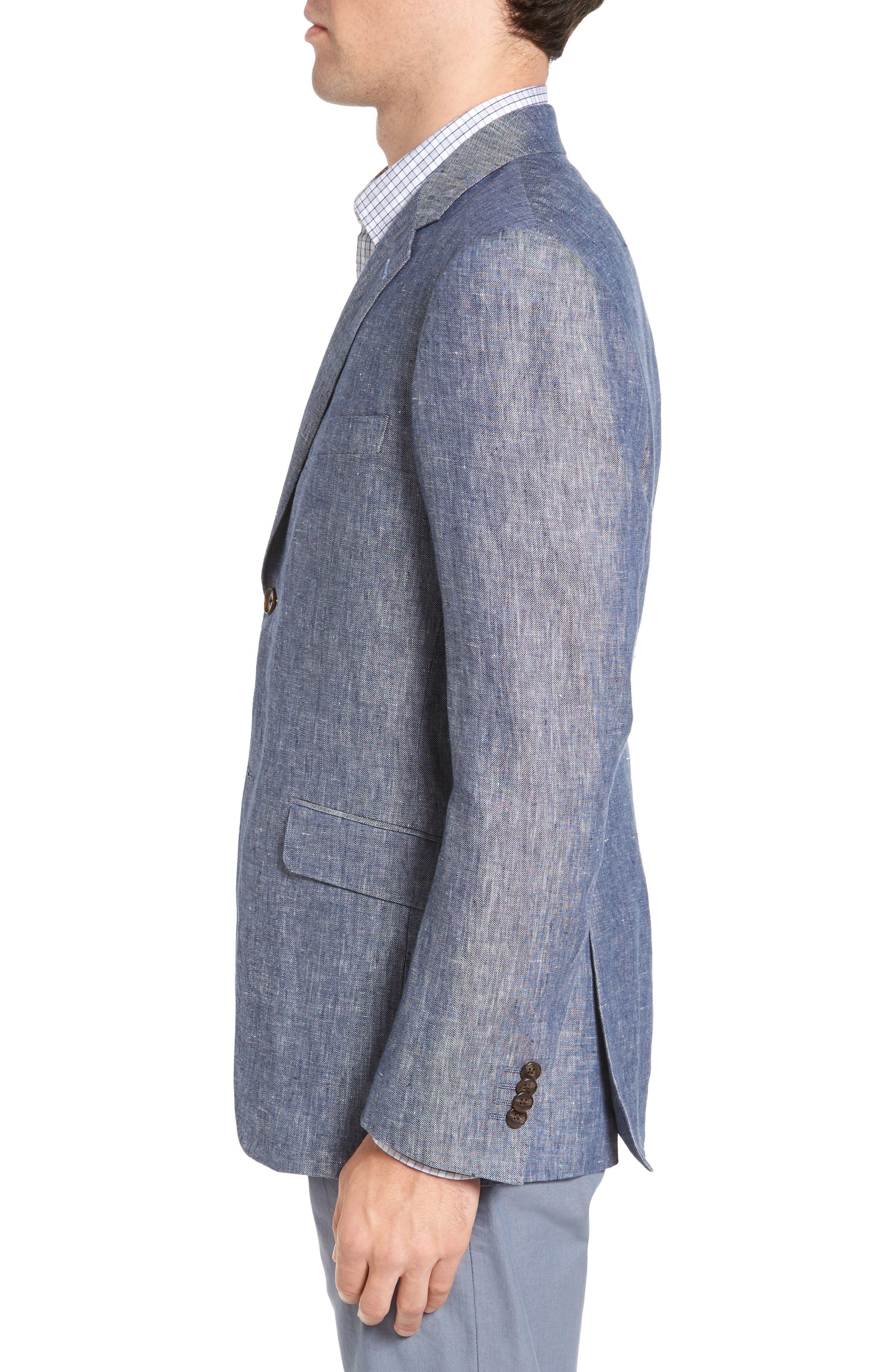 Druces Linen Sport Coat,                             Alternate thumbnail 3, color,                             Denim