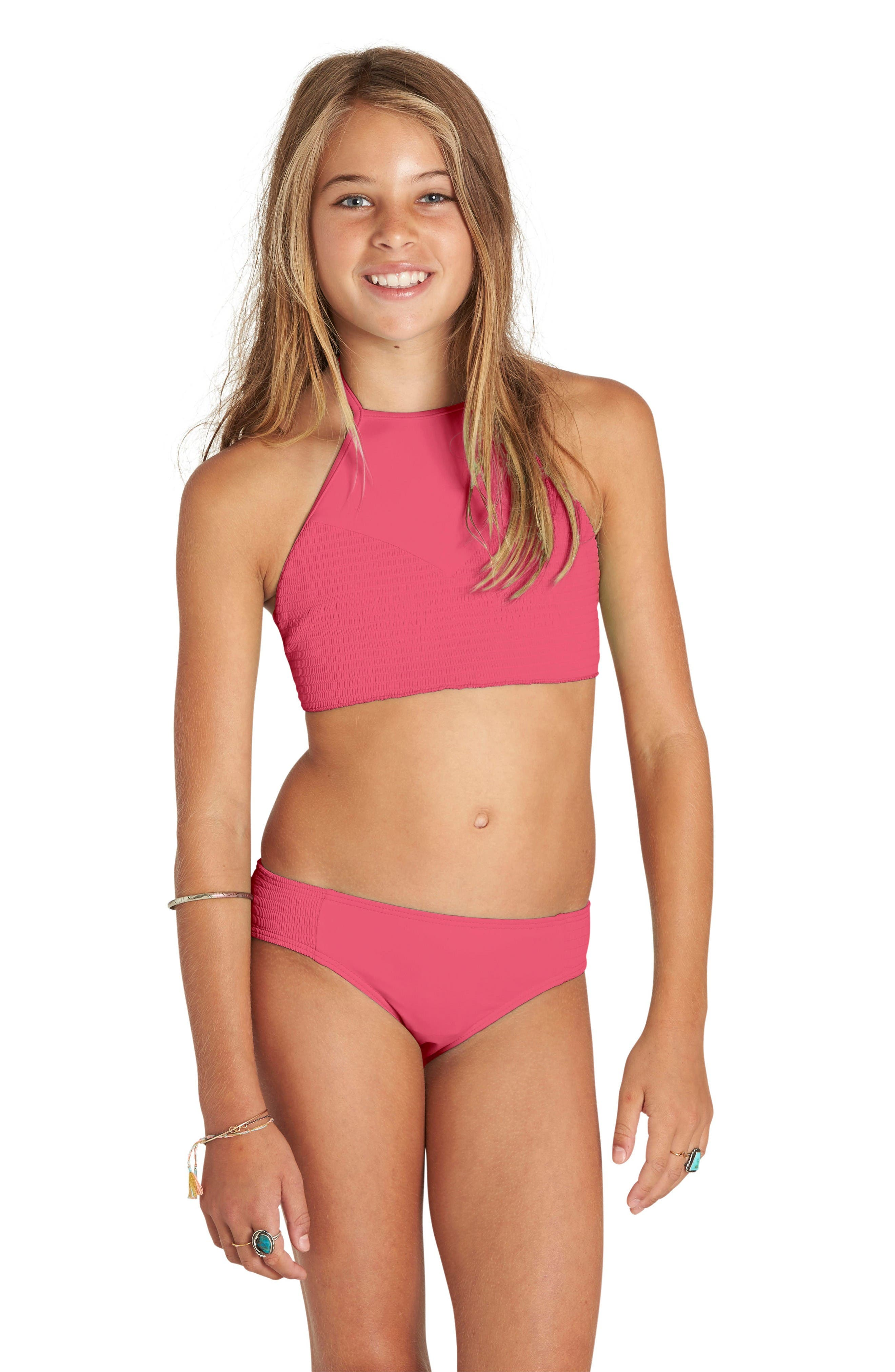 Smocked Two-Piece Swimsuit,                             Alternate thumbnail 2, color,                             Tropical Punch