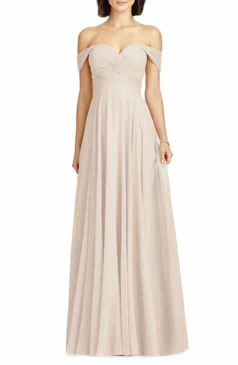 261b1245c4 Dessy Collection Lux Ruched Off the Shoulder Chiffon Gown (Regular   Plus  Size)