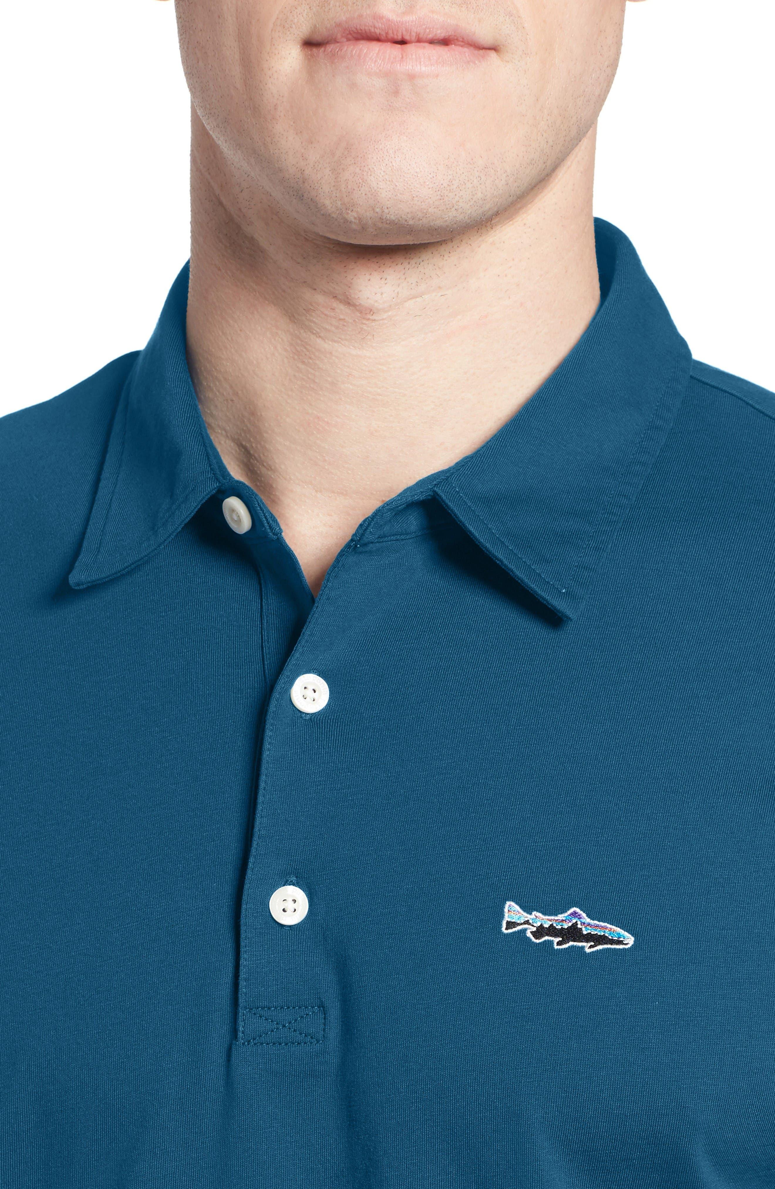 'Trout Fitz Roy' Organic Cotton Polo,                             Alternate thumbnail 8, color,                             Radar Blue