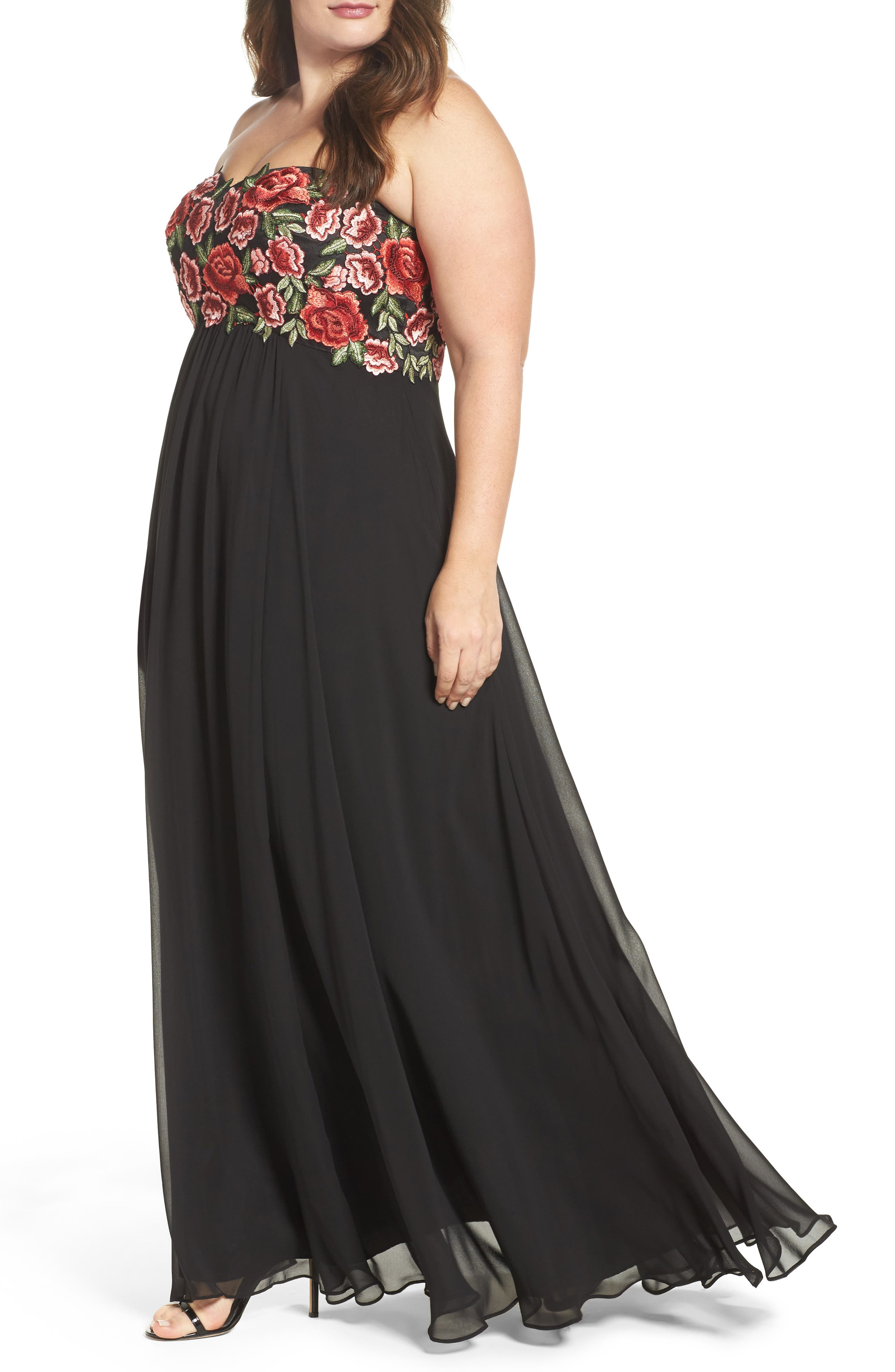 Floral Appliqué Strapless Gown,                             Alternate thumbnail 4, color,                             Black/ Red