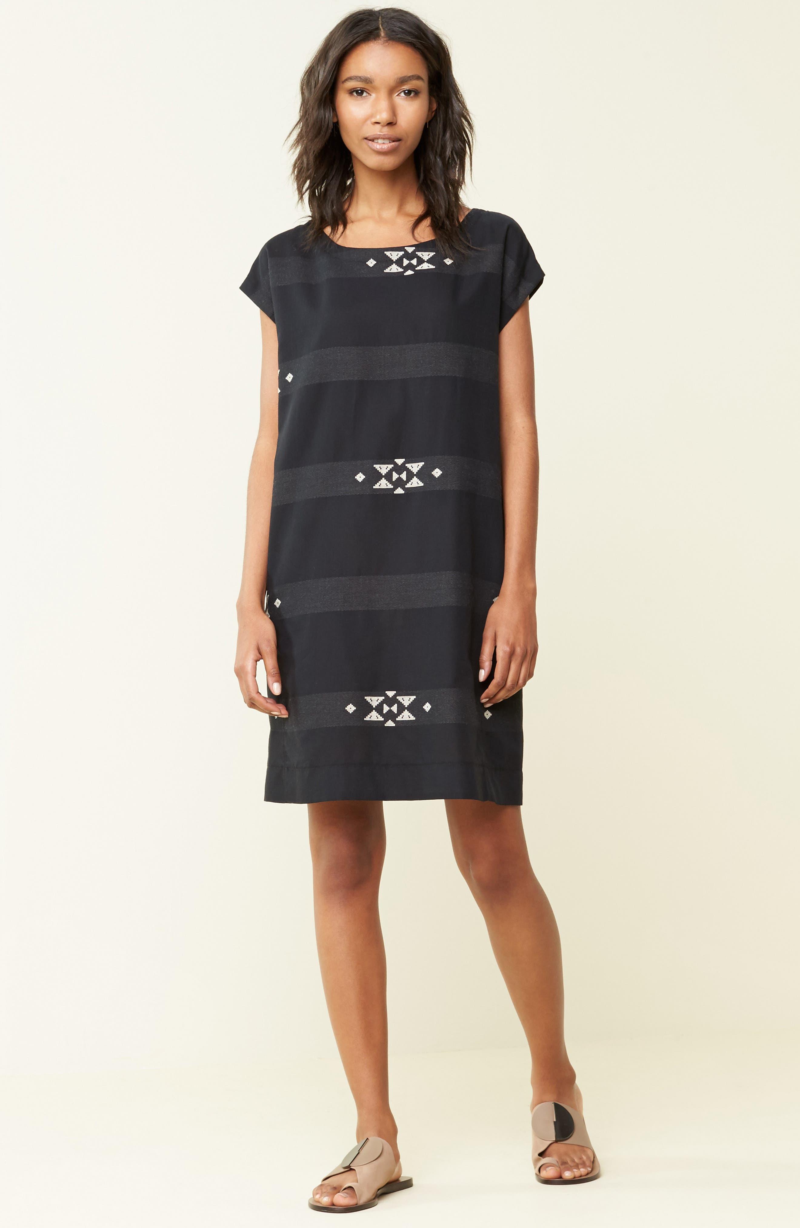Alternate Image 2  - Eileen Fisher Cotton Jacquard Shirt Dress (Regular & Petite)