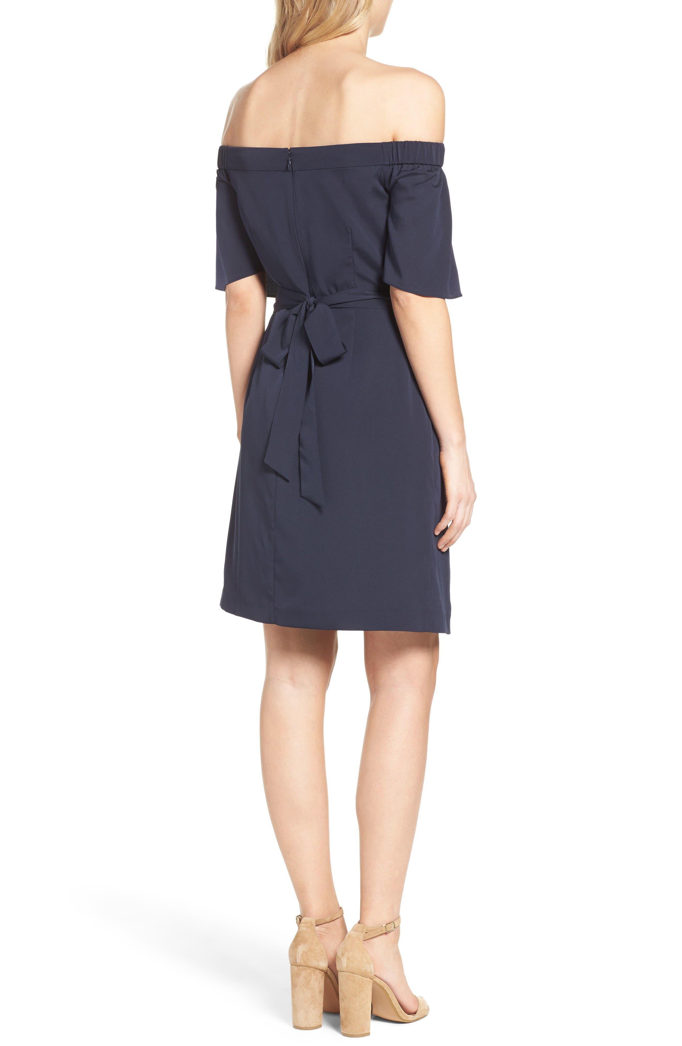 Alternate Image 2  - Eliza J Off the Shoulder Obi Dress (Regular & Petite)