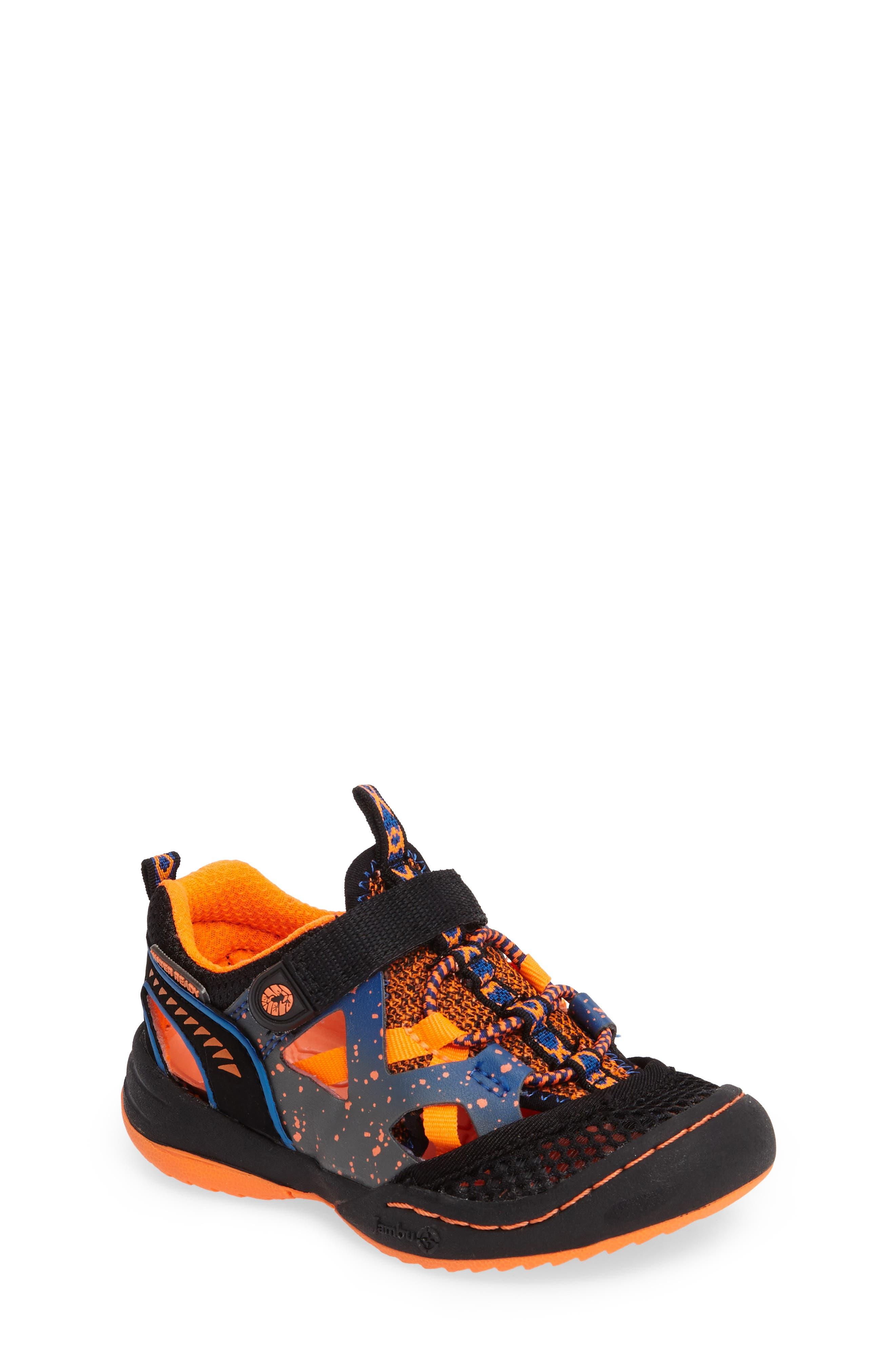 Squamata Sport Sneaker,                             Main thumbnail 1, color,                             Black/ Orange