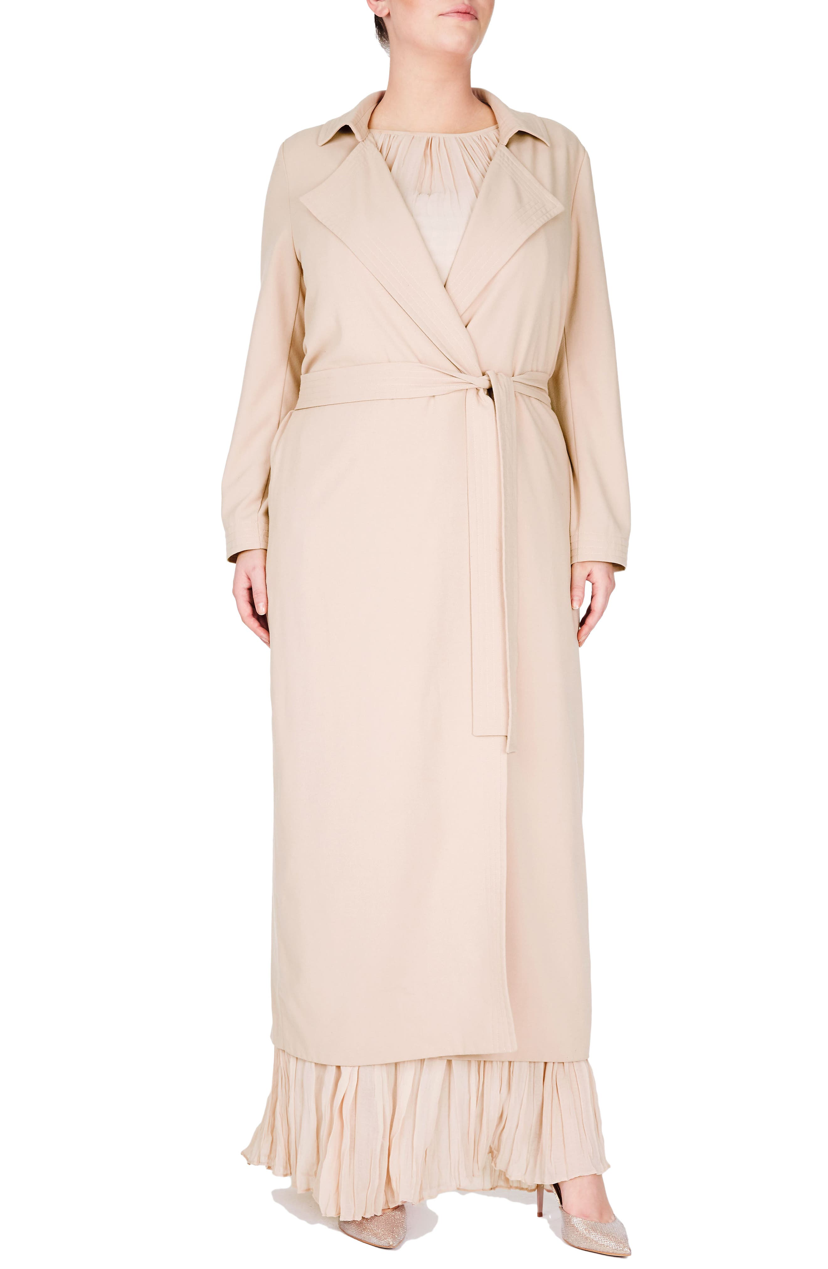 ELVI Long Trench Coat (Plus Size)