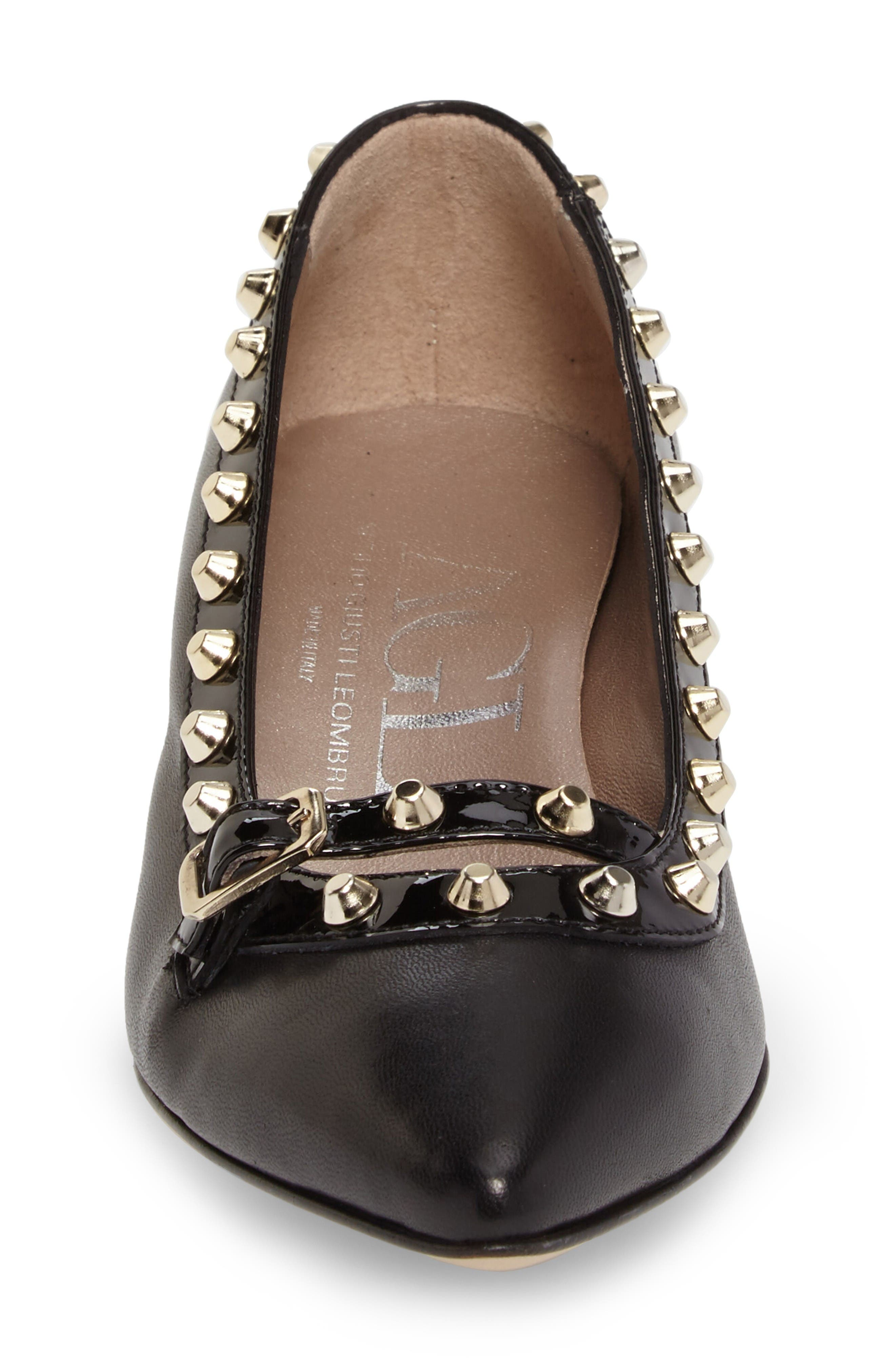 Studded Mary Jane Pump,                             Alternate thumbnail 4, color,                             Black Leather