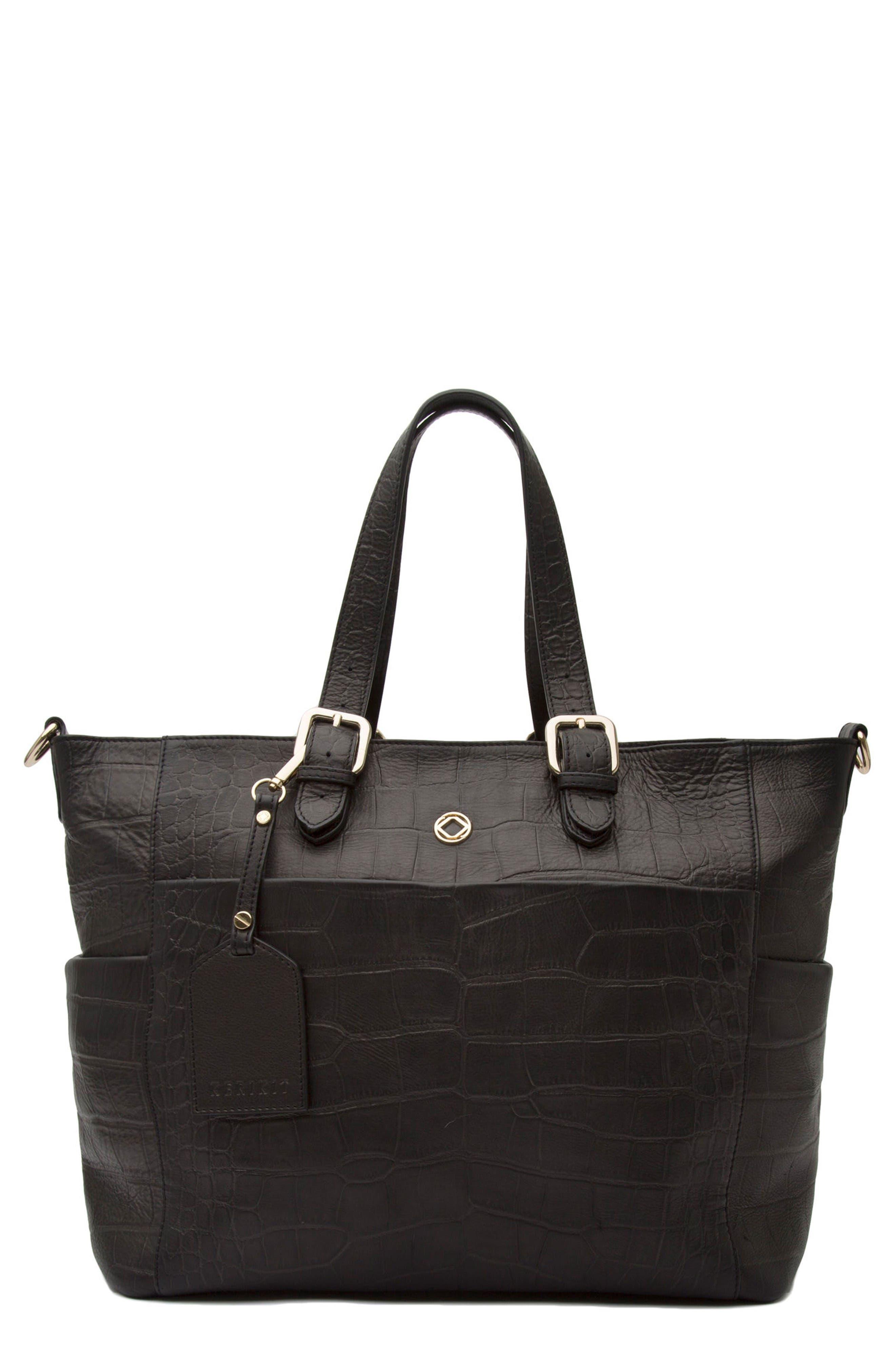 Alternate Image 1 Selected - Kerikit Francis Croc Embossed Leather Diaper Bag