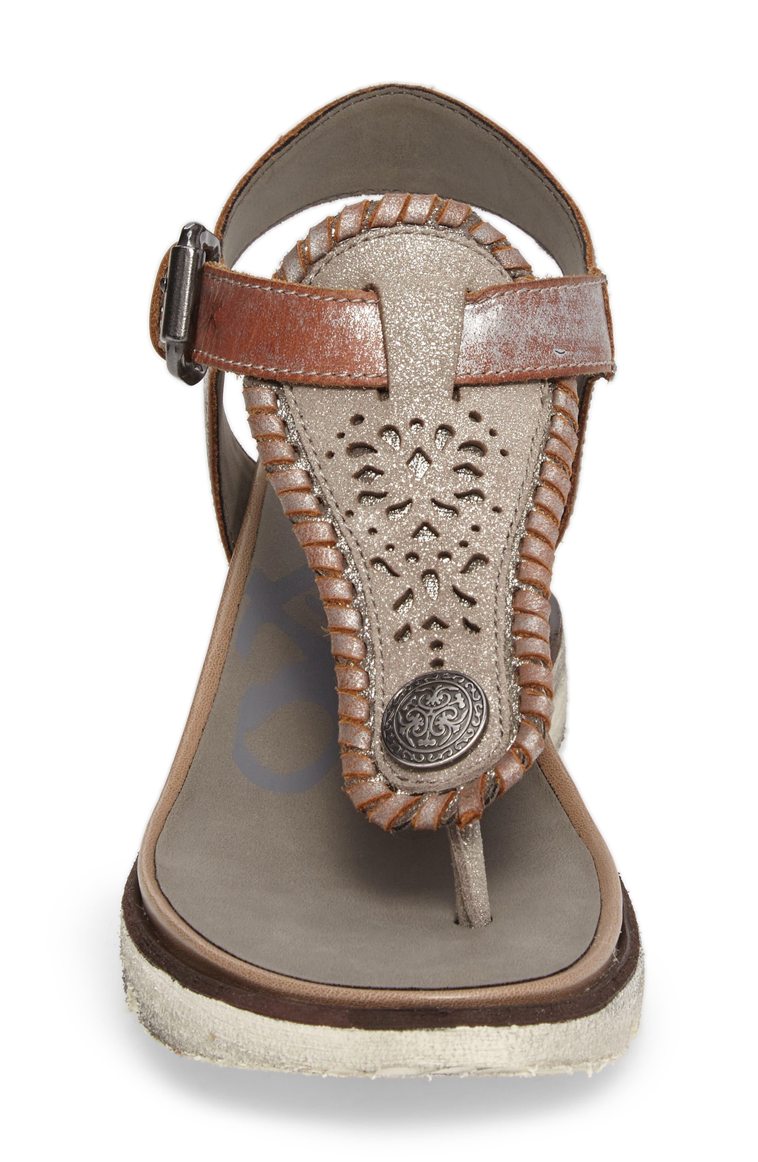 Excursion Wedge Sandal,                             Alternate thumbnail 4, color,                             Cloudburst Leather