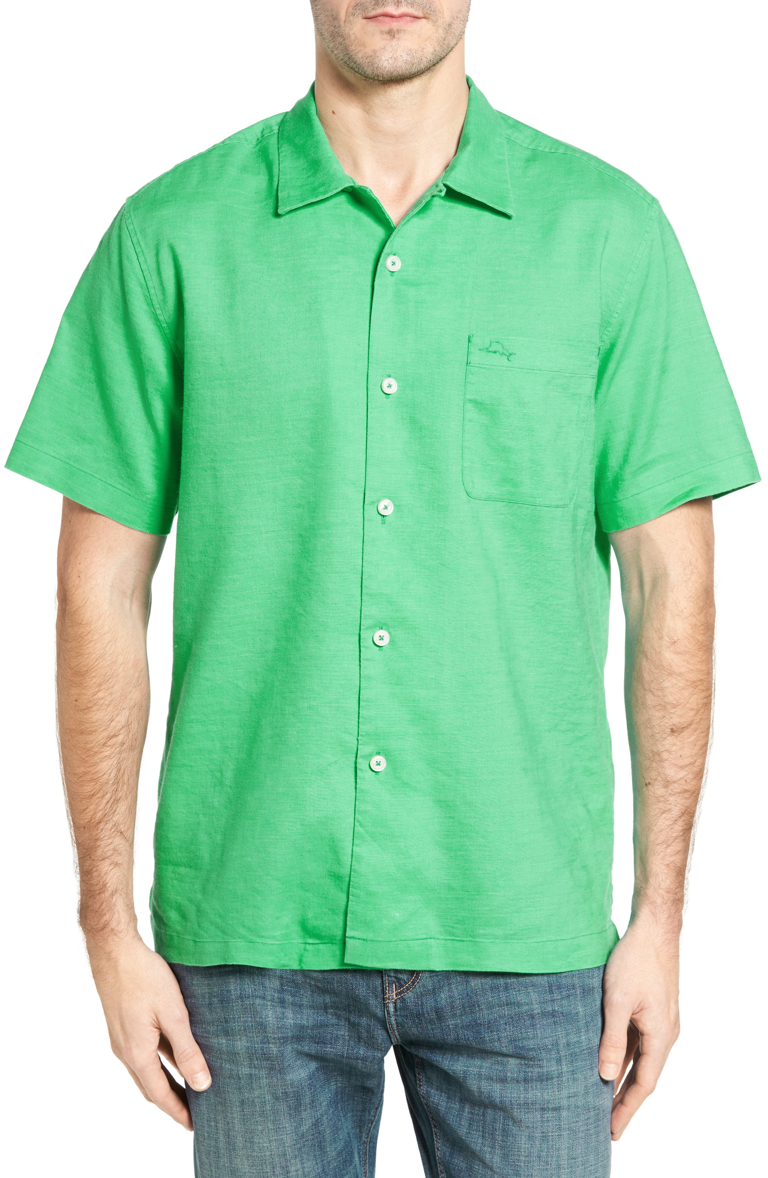 TOMMY BAHAMA Monaco Tides Standard Fit Linen Blend Camp Shirt