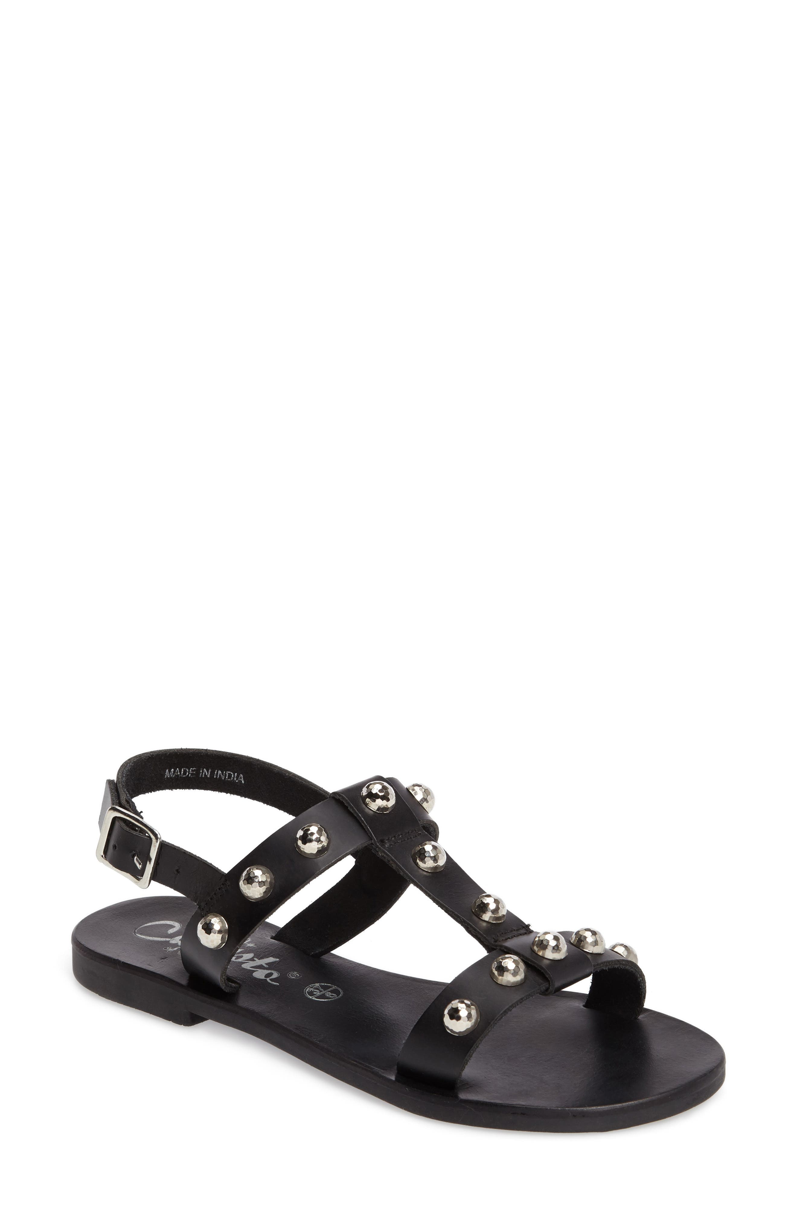 Bristol Sandal,                             Main thumbnail 1, color,                             Black Leather