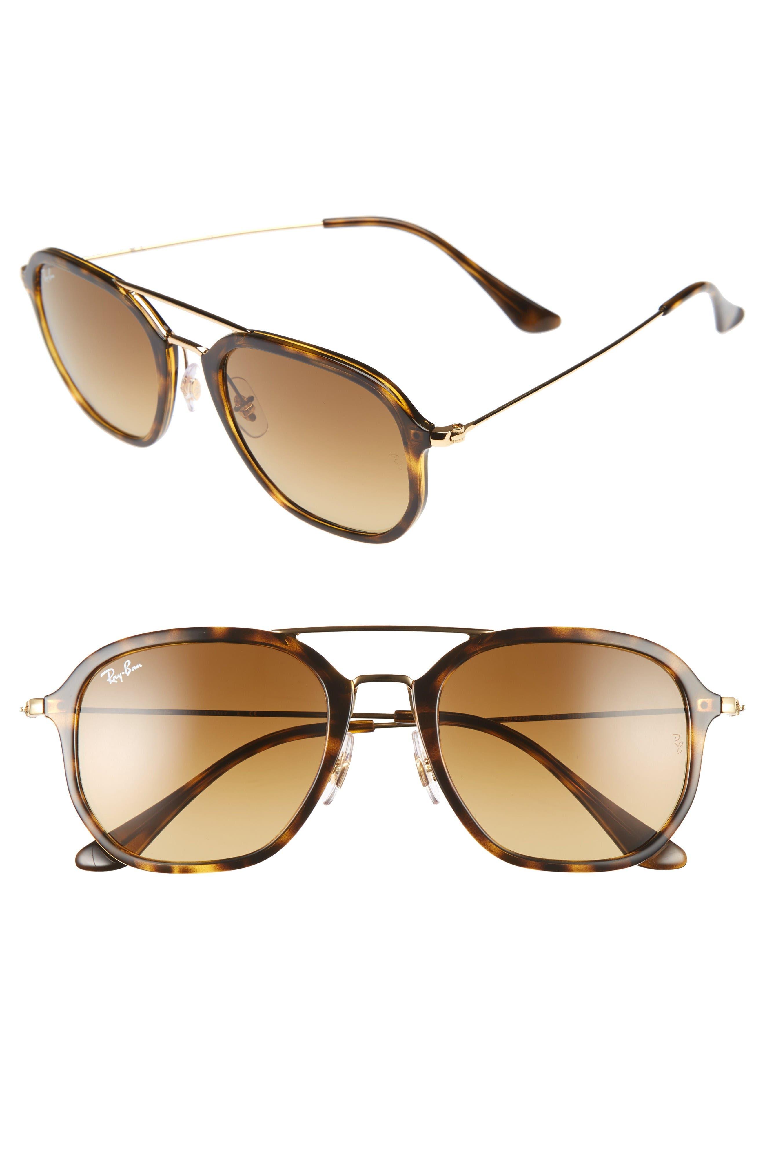 52mm Square Sunglasses,                             Main thumbnail 1, color,                             Havana