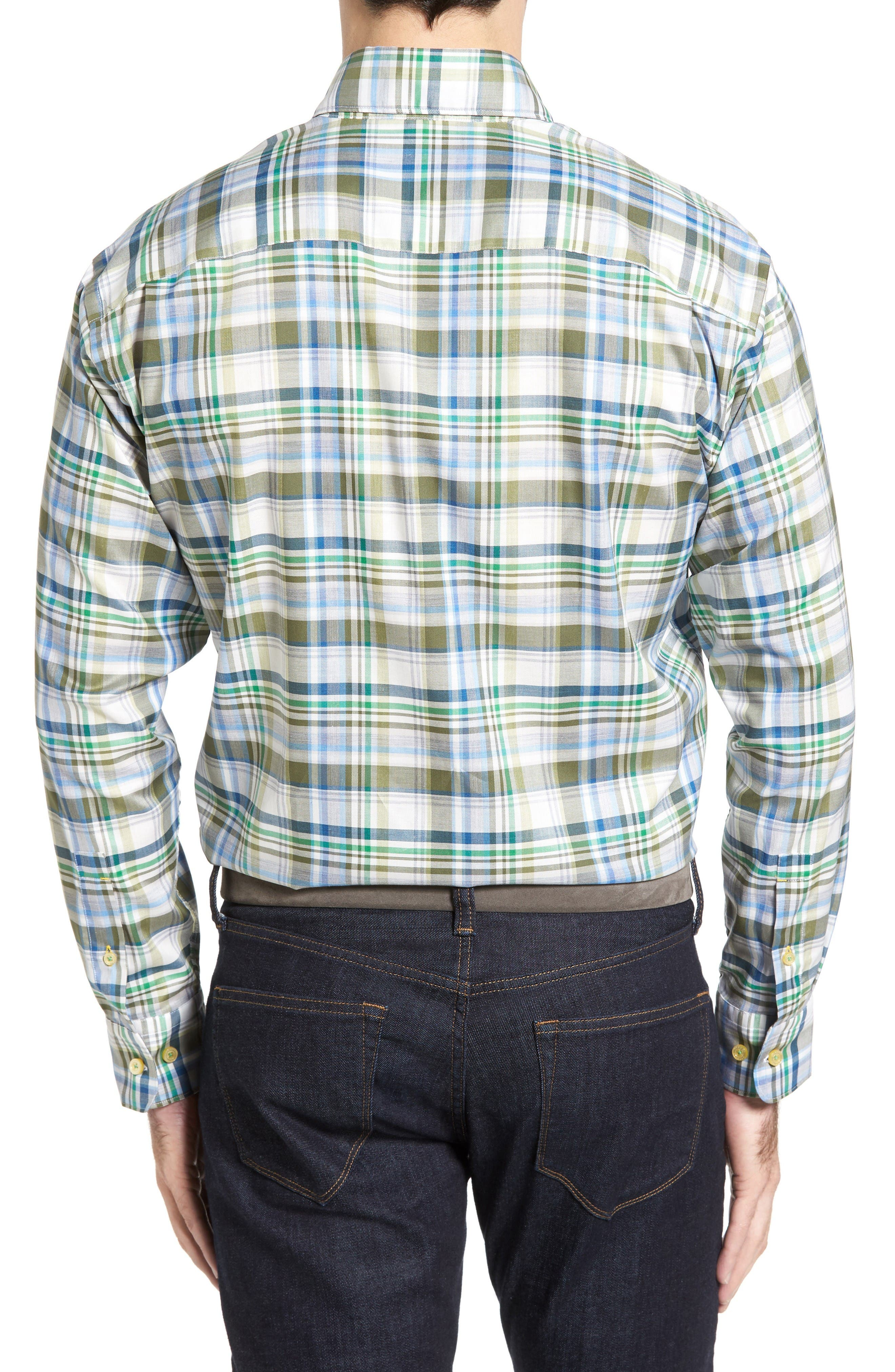 Anderson Classic Fit Plaid Micro Twill Sport Shirt,                             Alternate thumbnail 2, color,                             Green