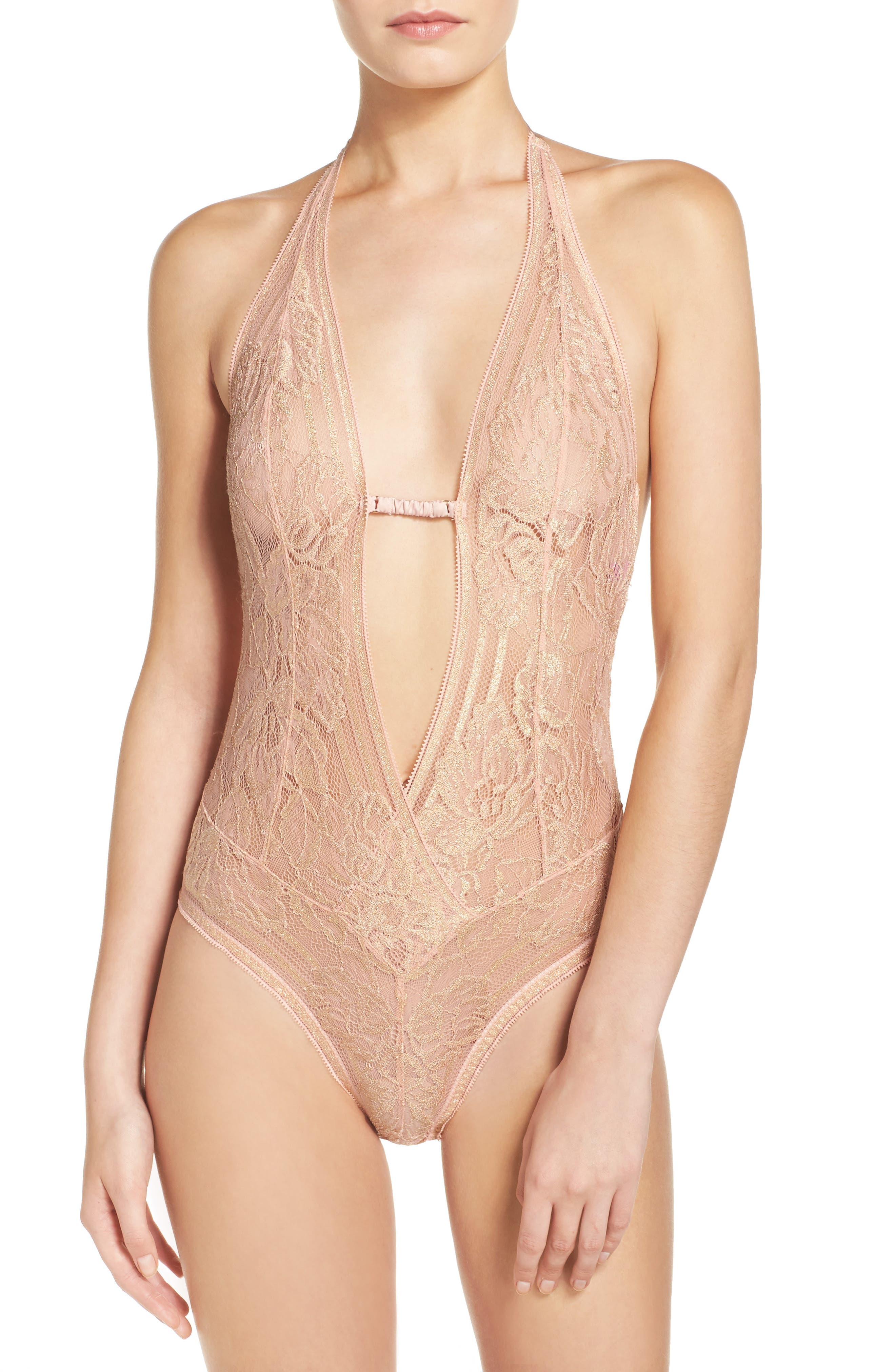 Alternate Image 1 Selected - L'Agent by Agent Provocateur 'Sienna' Metallic Lace Bodysuit