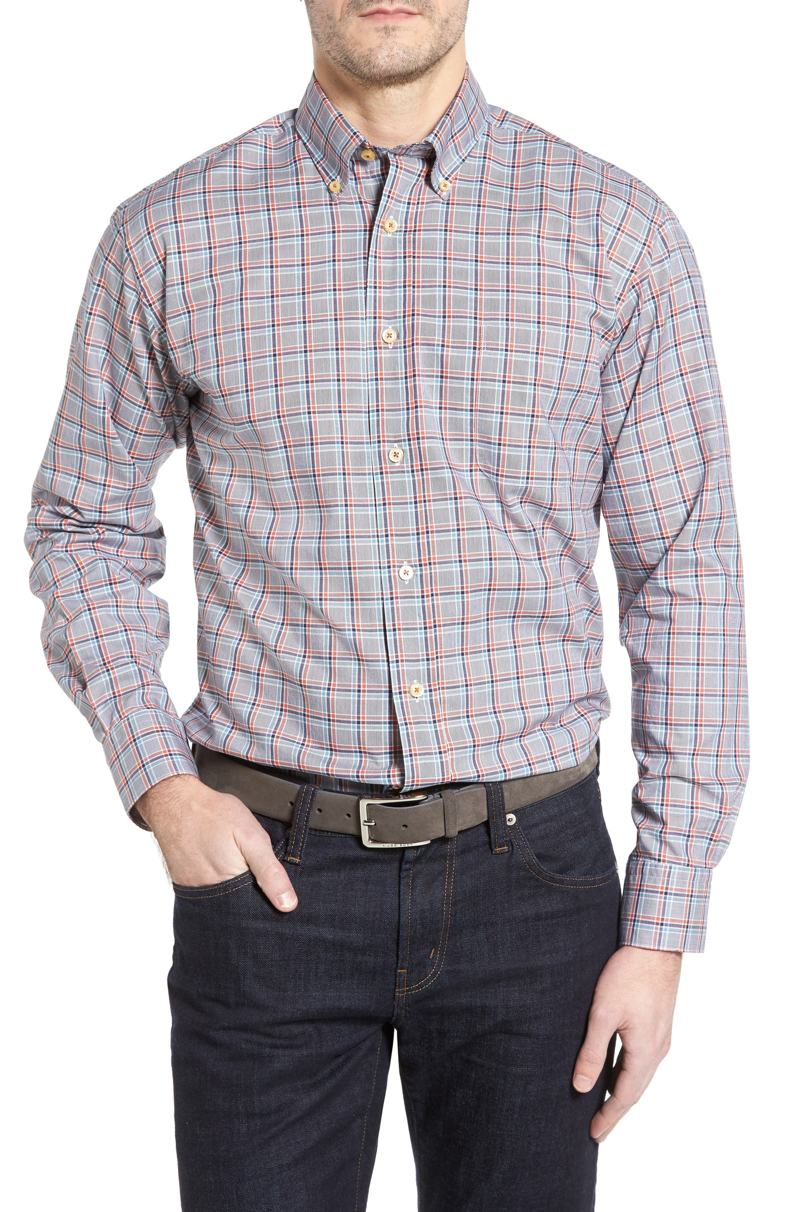 Anderson Classic Fit Plaid Oxford Sport Shirt,                         Main,                         color, Navy