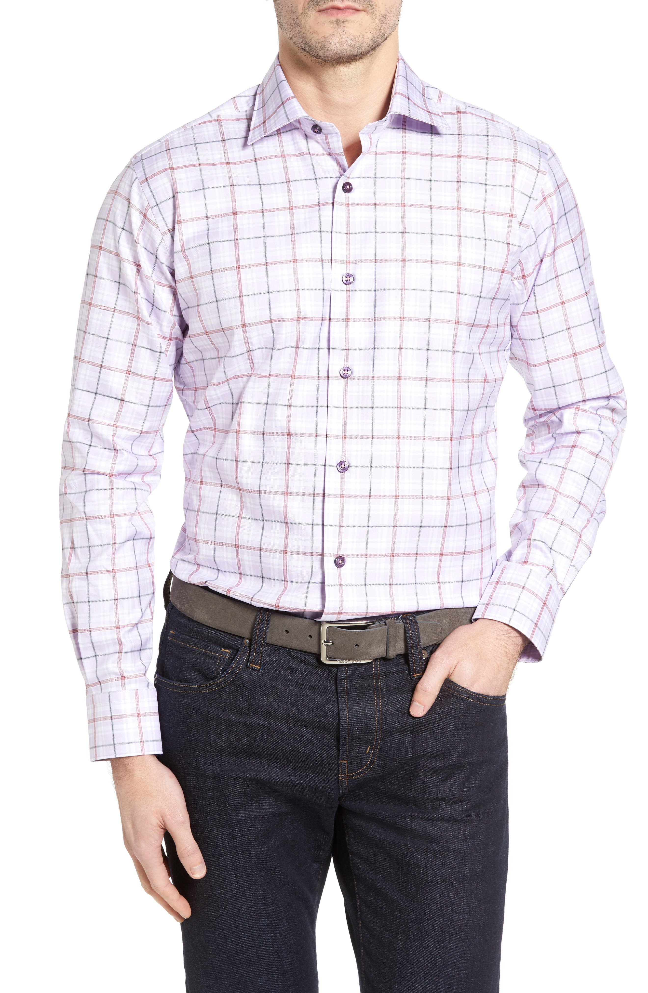 Crespi IV Tailored Fit Sport Shirt,                         Main,                         color, Lavender