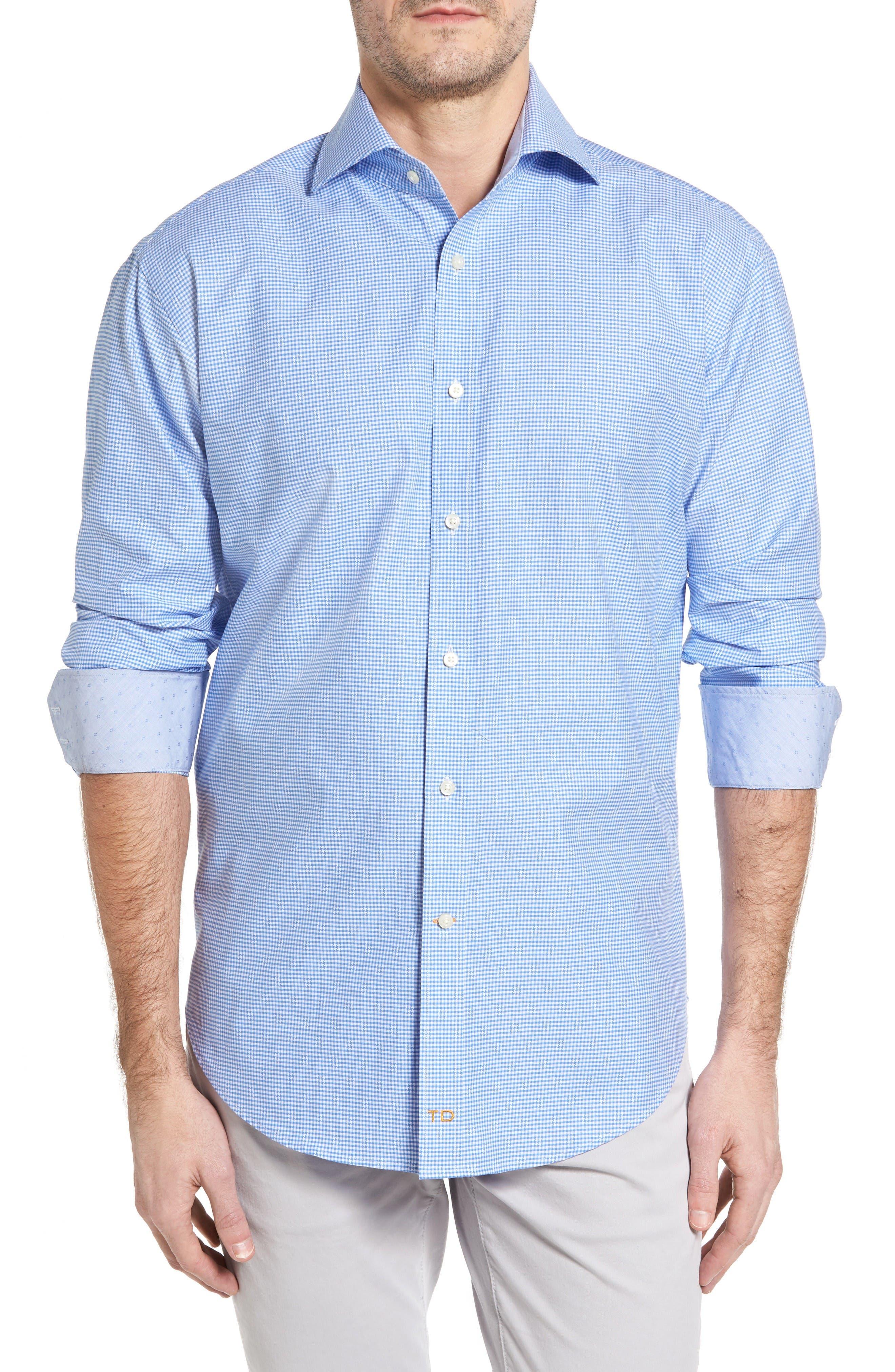Classic Fit Mini Check Sport Shirt,                             Main thumbnail 1, color,                             Blue