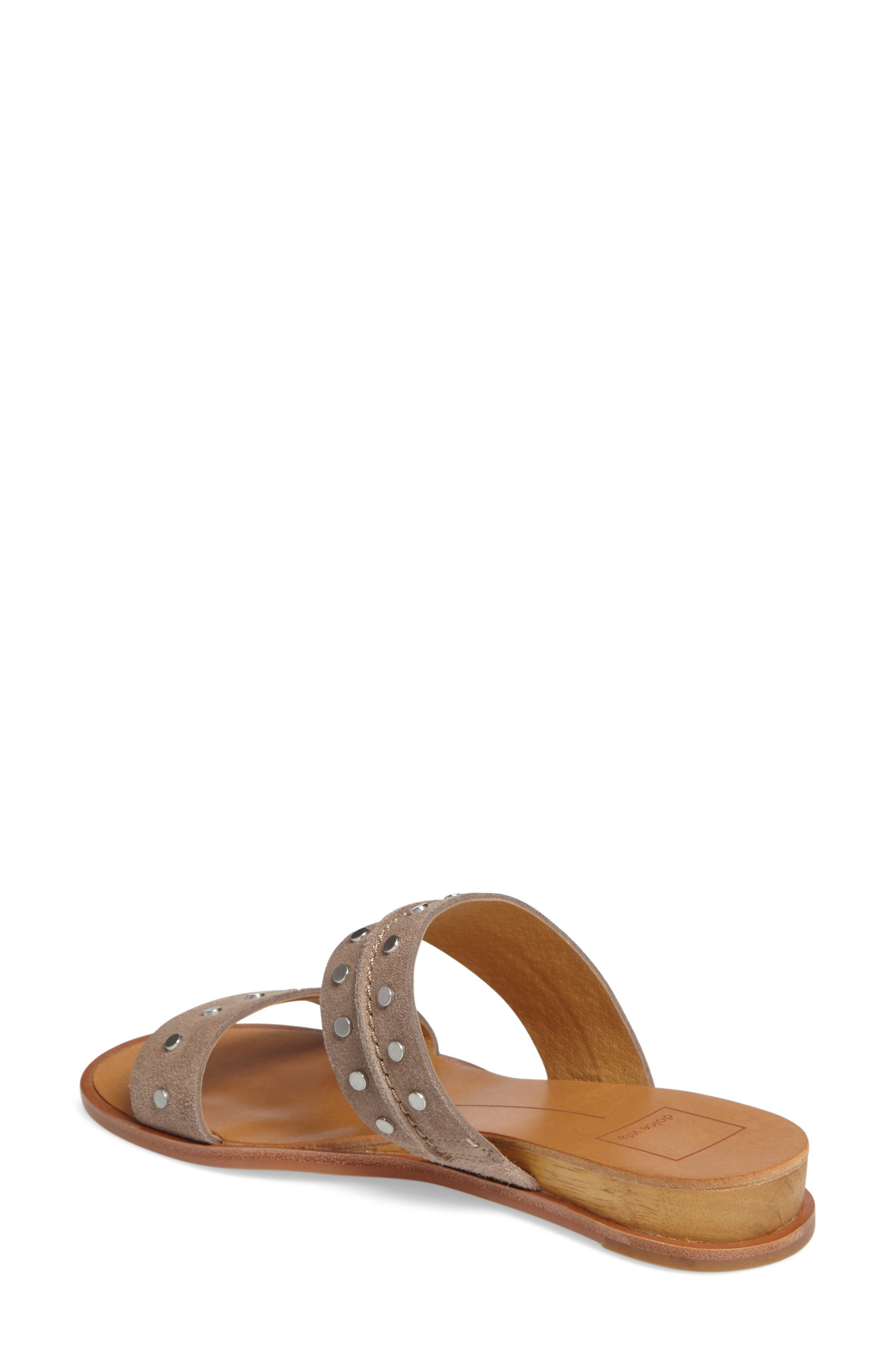Pacey Studded Wedge Sandal,                             Alternate thumbnail 2, color,                             Taupe Suede