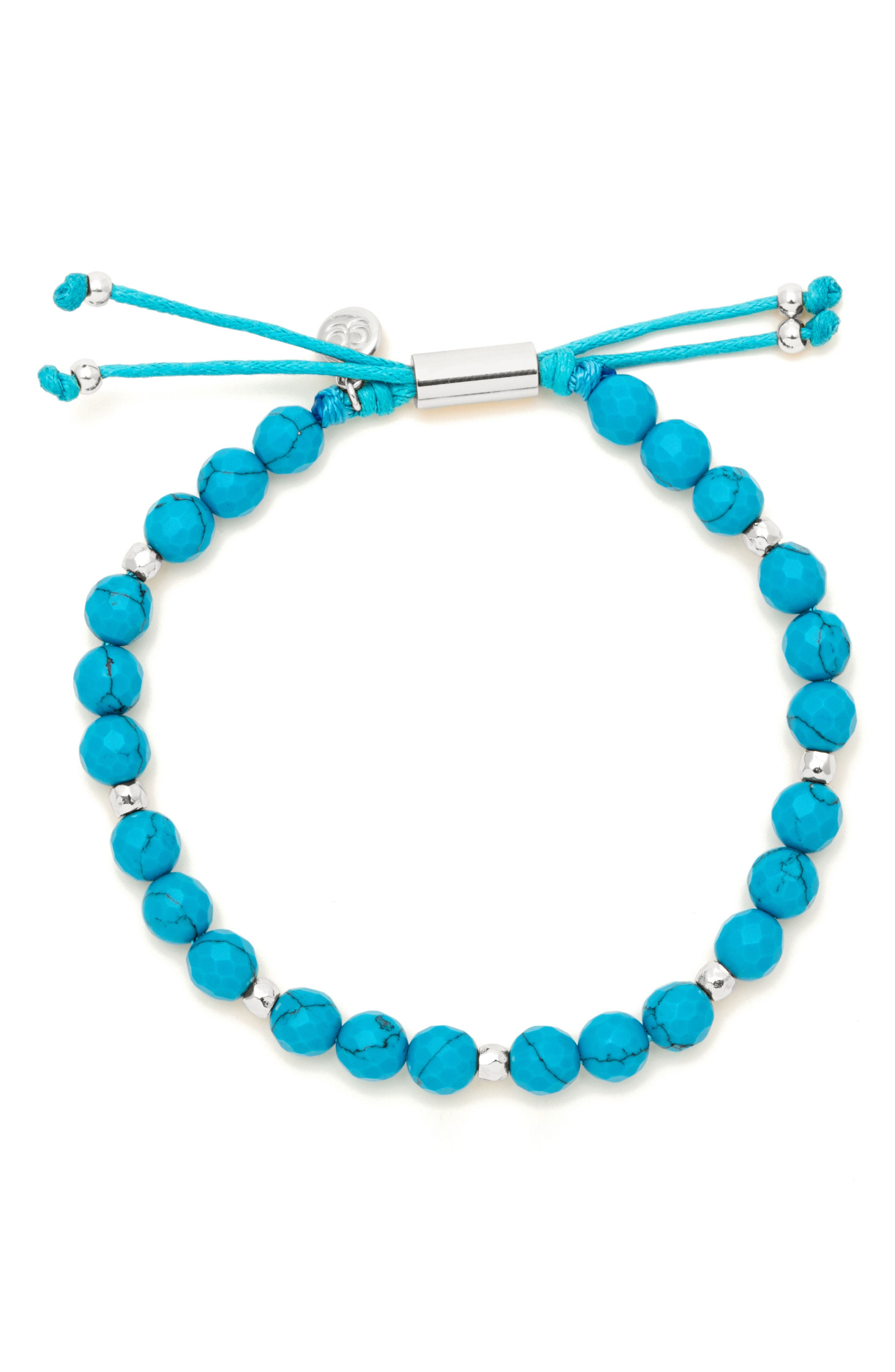 Power Gemstone Beaded Bracelet,                         Main,                         color, Turquoise / Silver