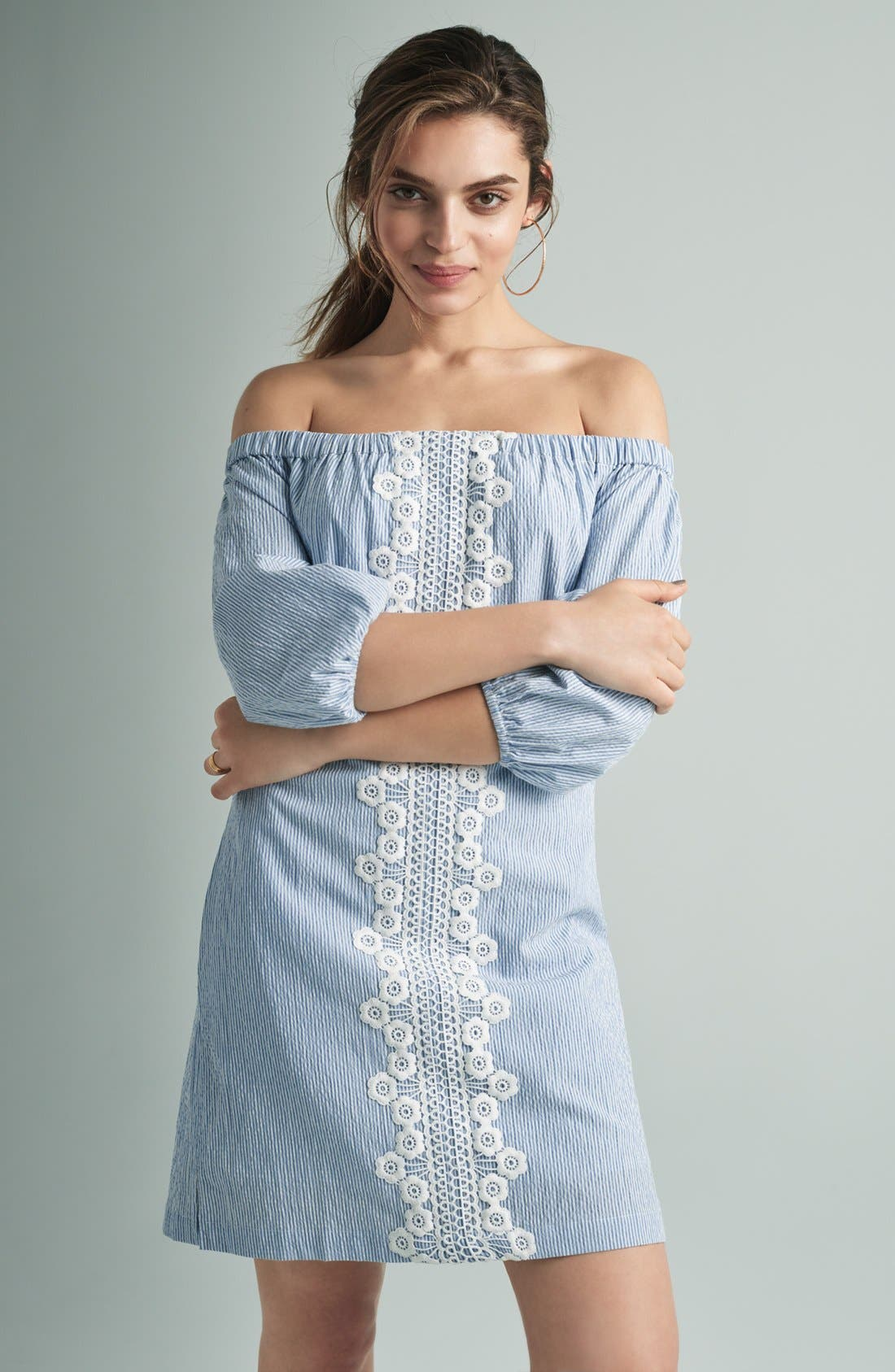 Alternate Image 8  - Eliza J Lace Trim Seersucker Off the Shoulder Dress (Regular & Petite)