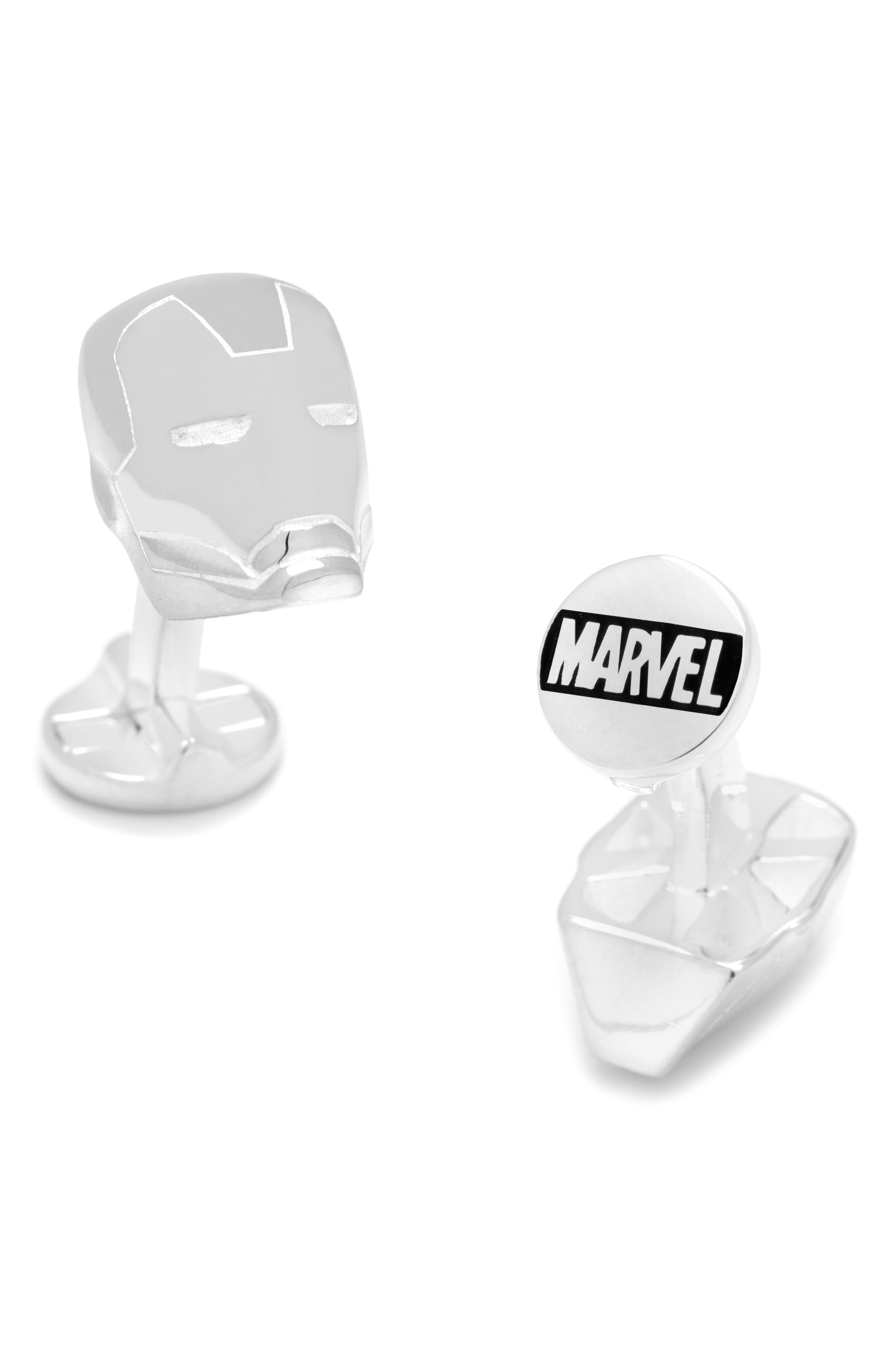 Iron Man Cuff Links,                         Main,                         color, Silver