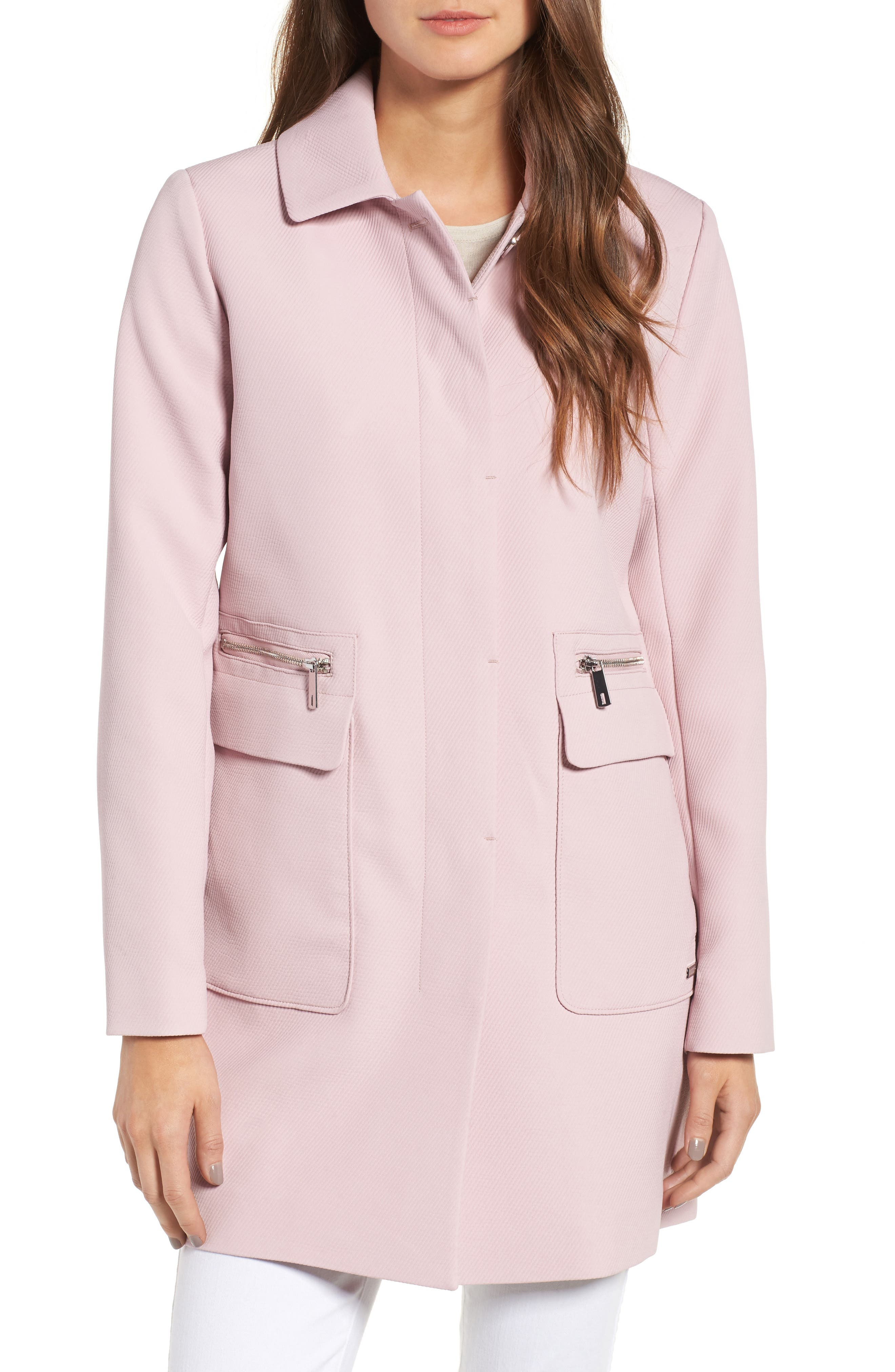 Kenneth Cole New York Zip Pocket A-Line Coat