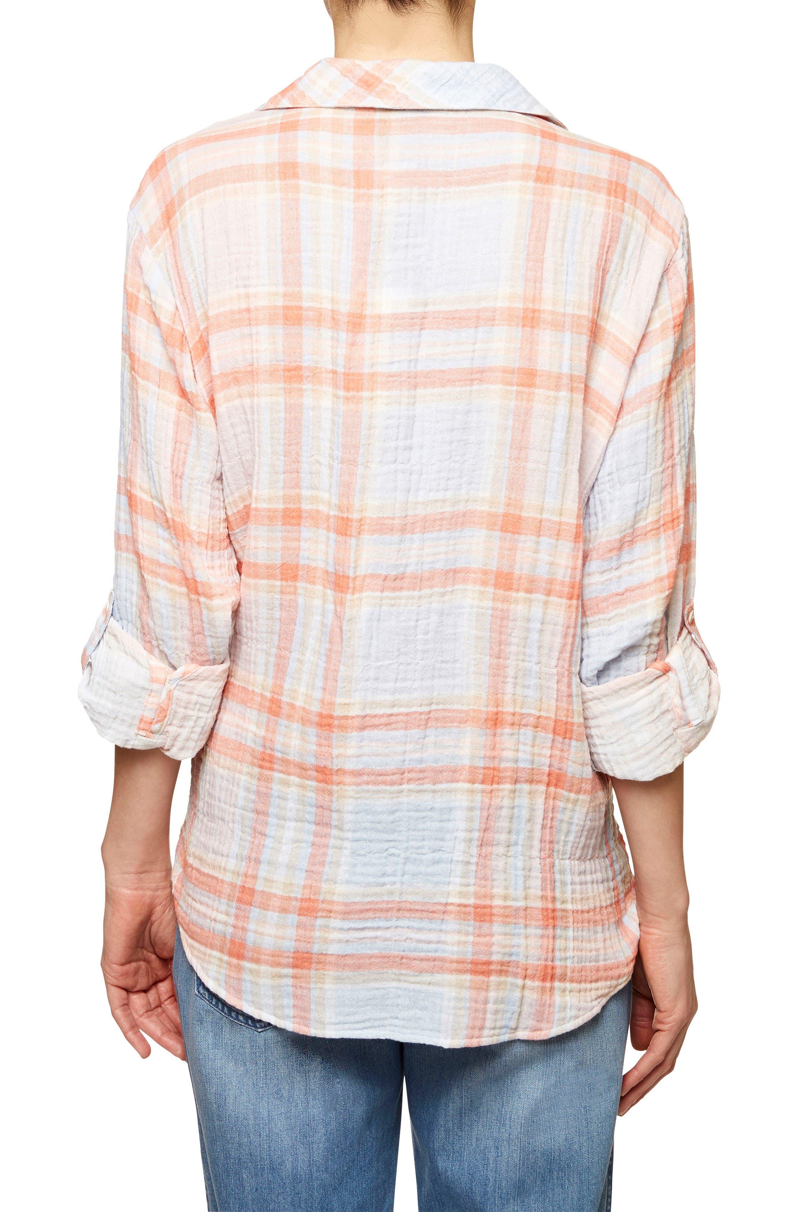 Steady Boyfriend Plaid Shirt,                             Alternate thumbnail 3, color,                             Nina Plaid