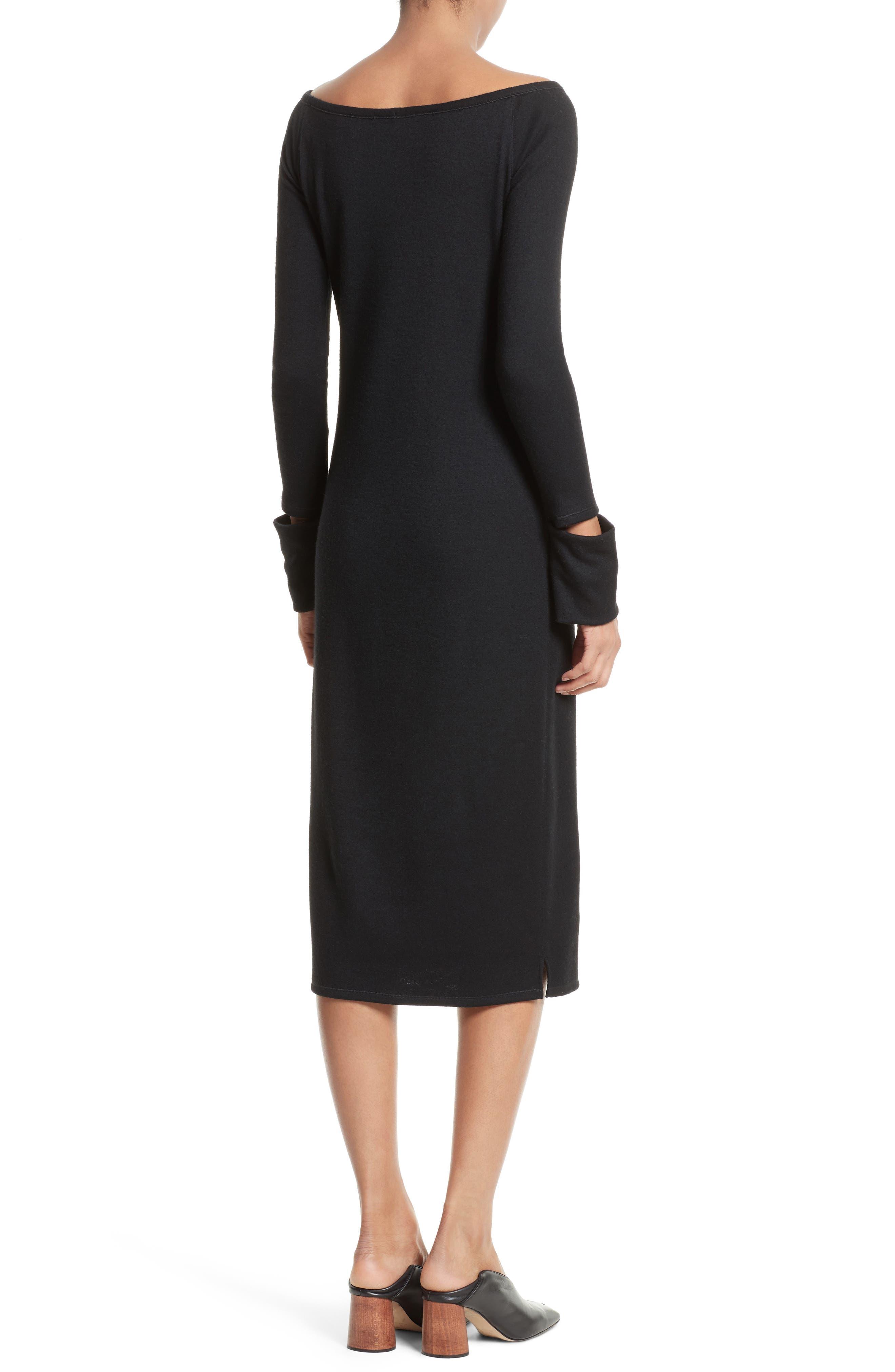 Slash Cuff Wool Blend Dress,                             Alternate thumbnail 2, color,                             Black
